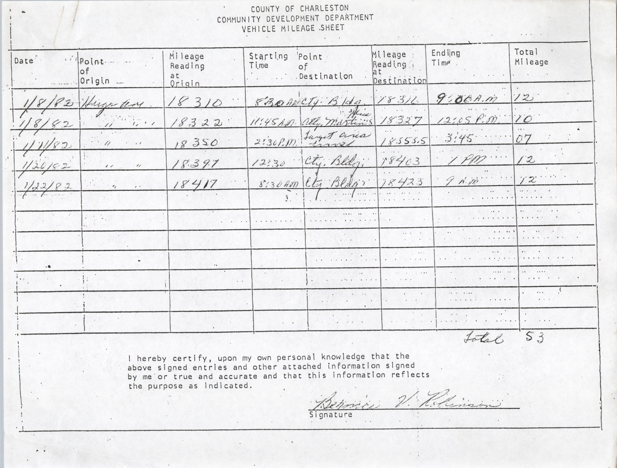 Community Development Department Vehicle Mileage Sheet, Page 8