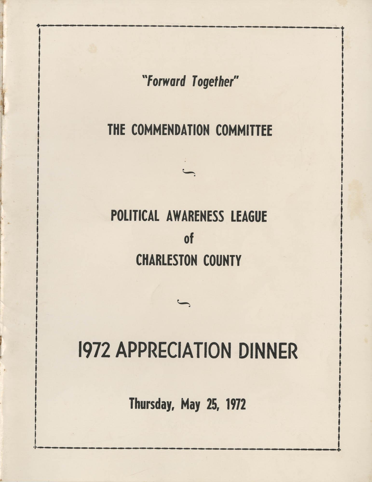 1972 Appreciation Dinner Program, Cover