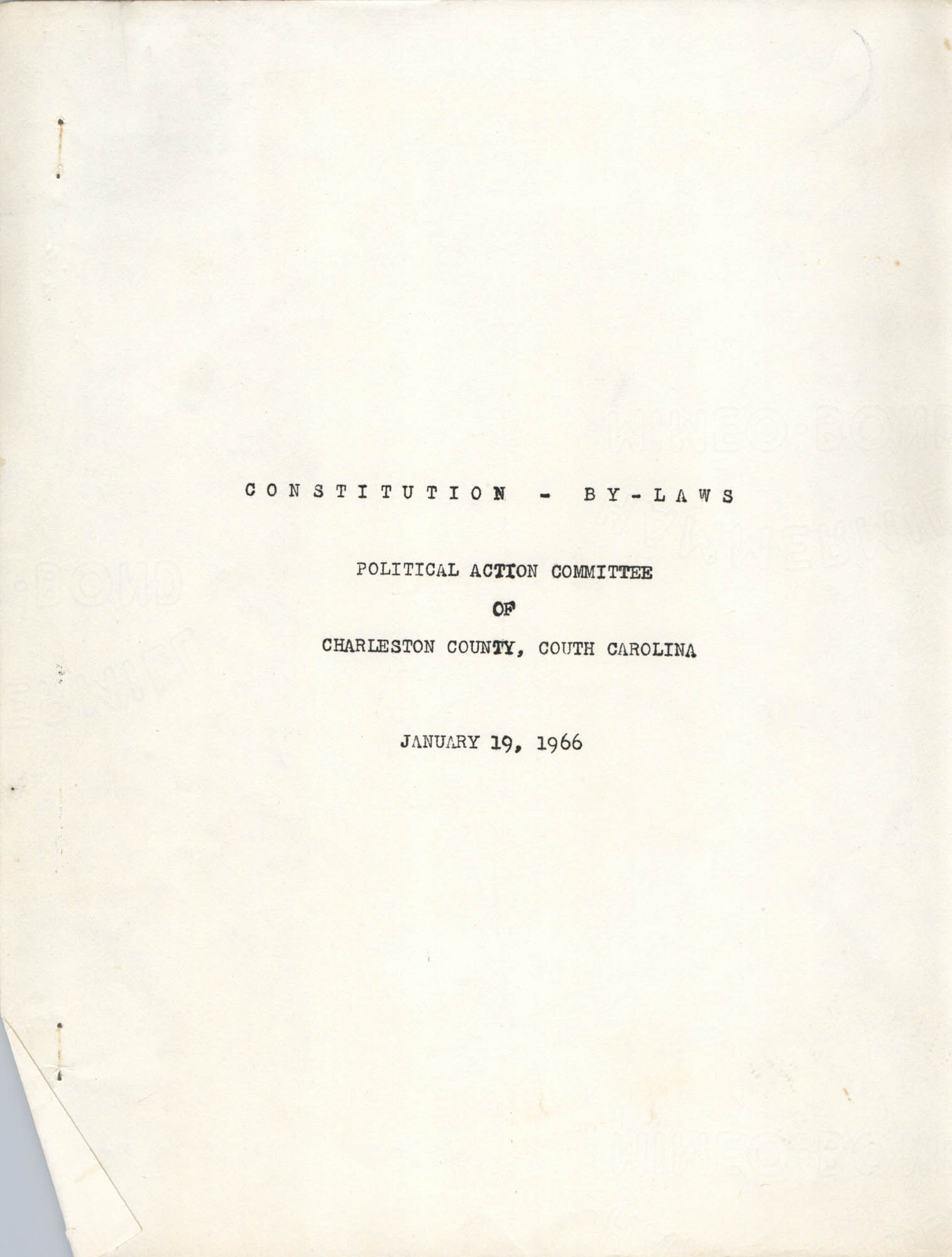 Constitution and By-Laws, Title Page