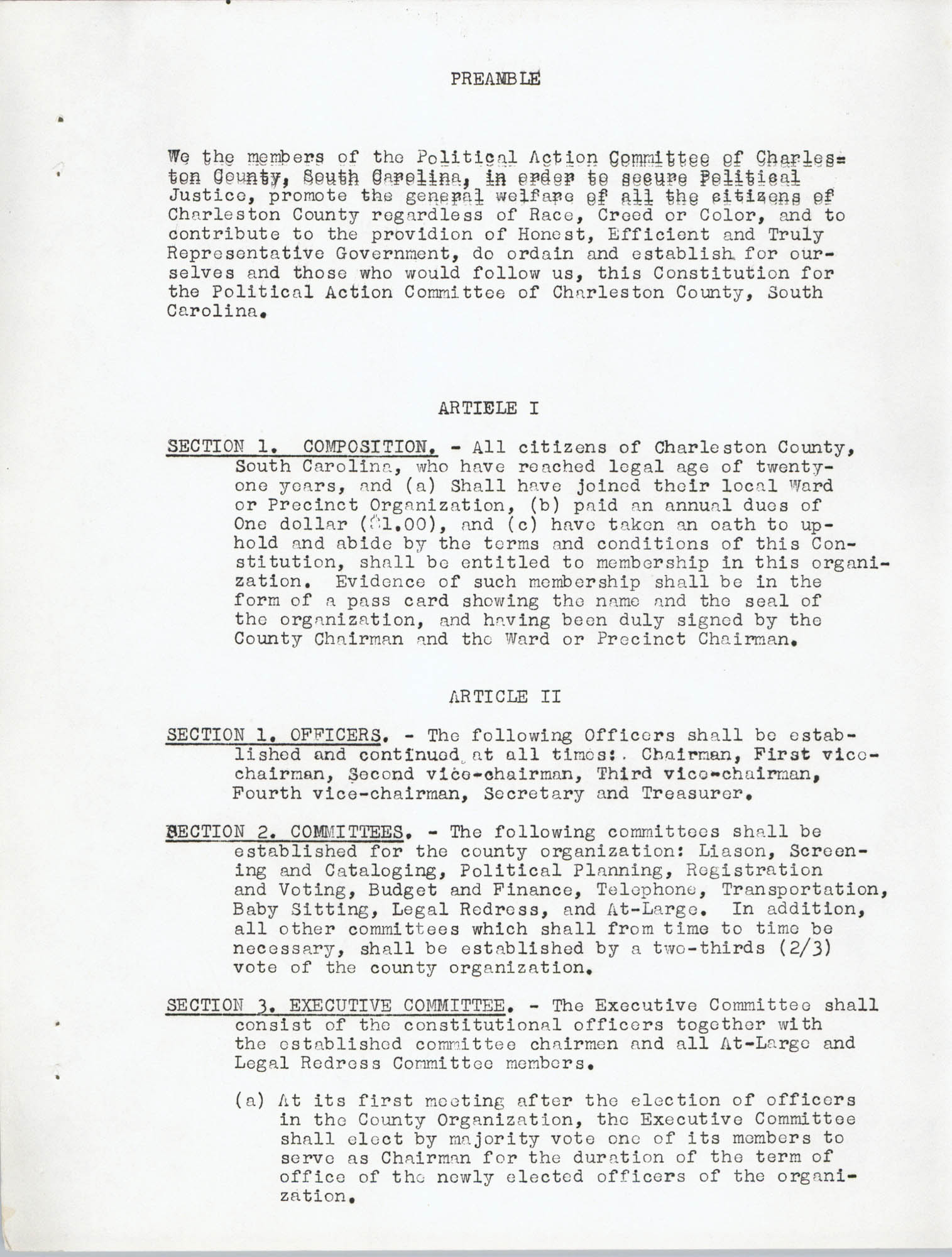 Constitution and By-Laws, Page 1