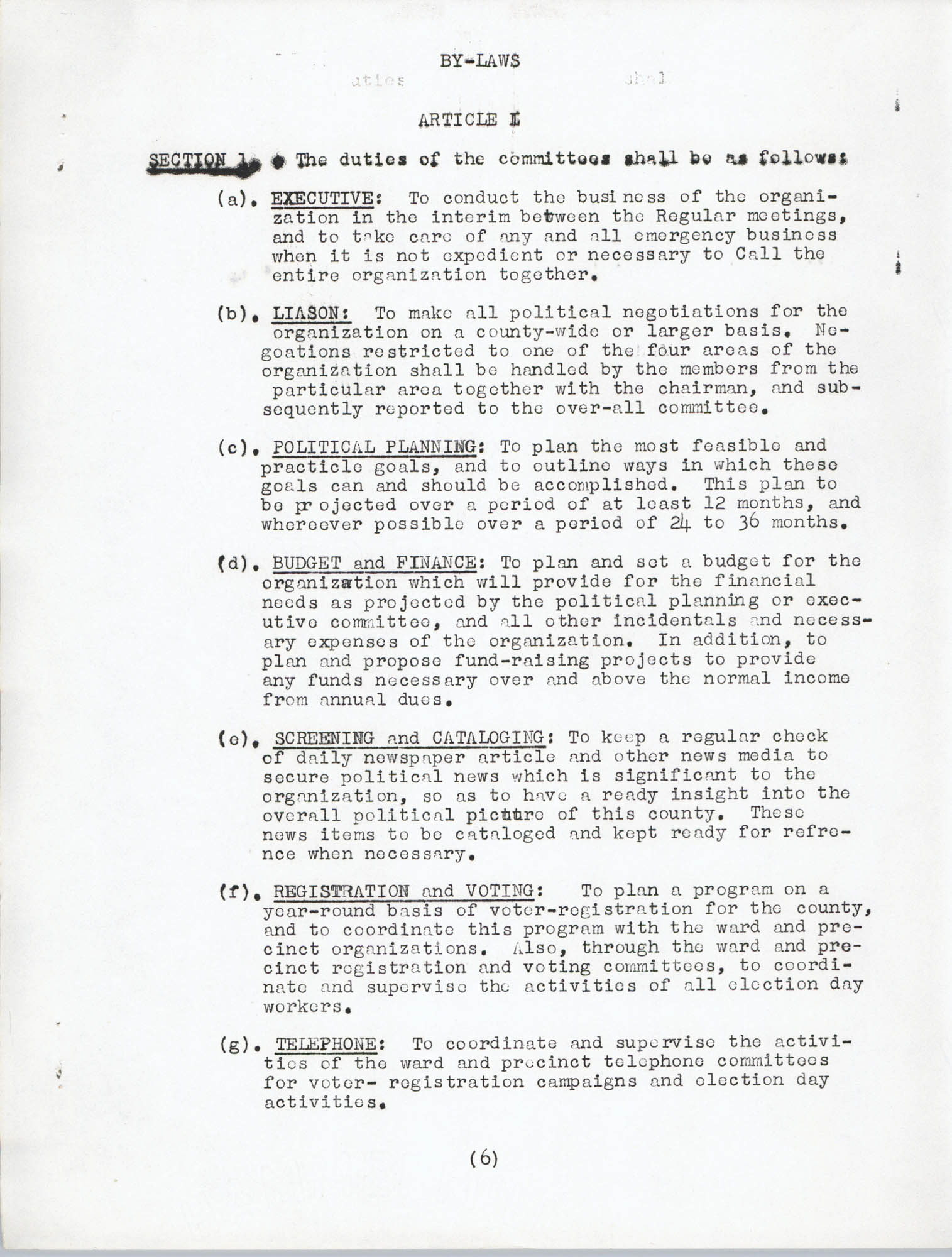 Constitution and By-Laws, Page 6