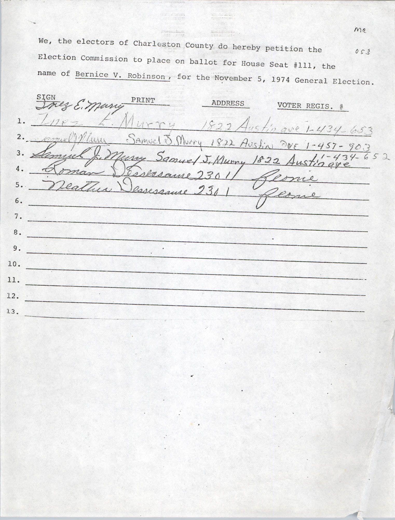 Bernice Robinson Petition for South Carolina House of Representatives, Page 10 (053)