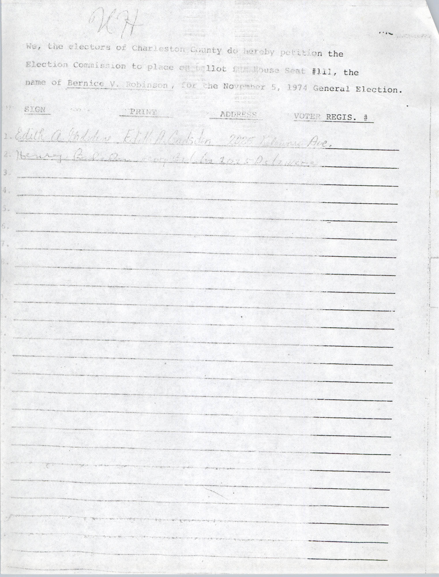 Bernice Robinson Petition for South Carolina House of Representatives, Page 13