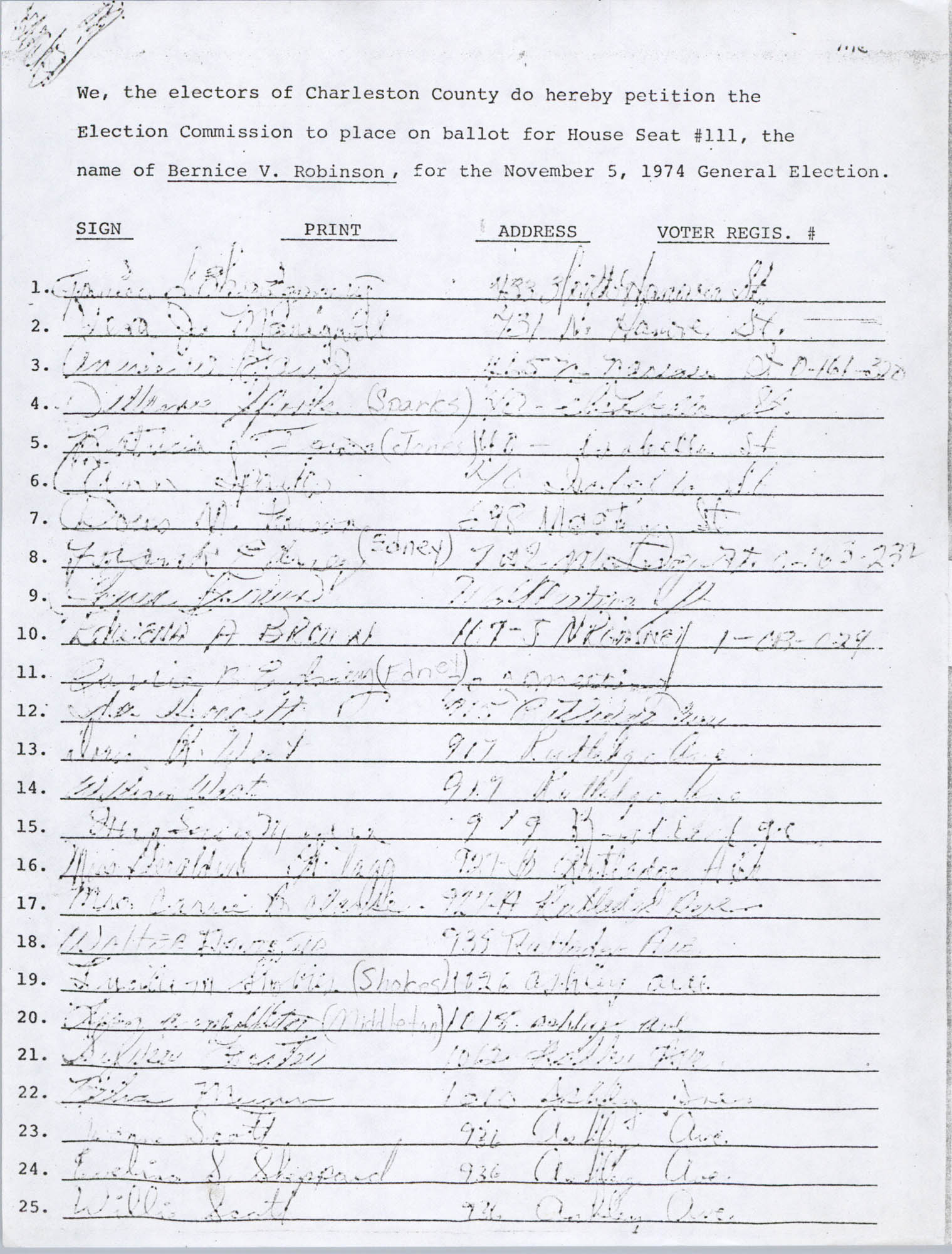 Bernice Robinson Petition for South Carolina House of Representatives, Page 37