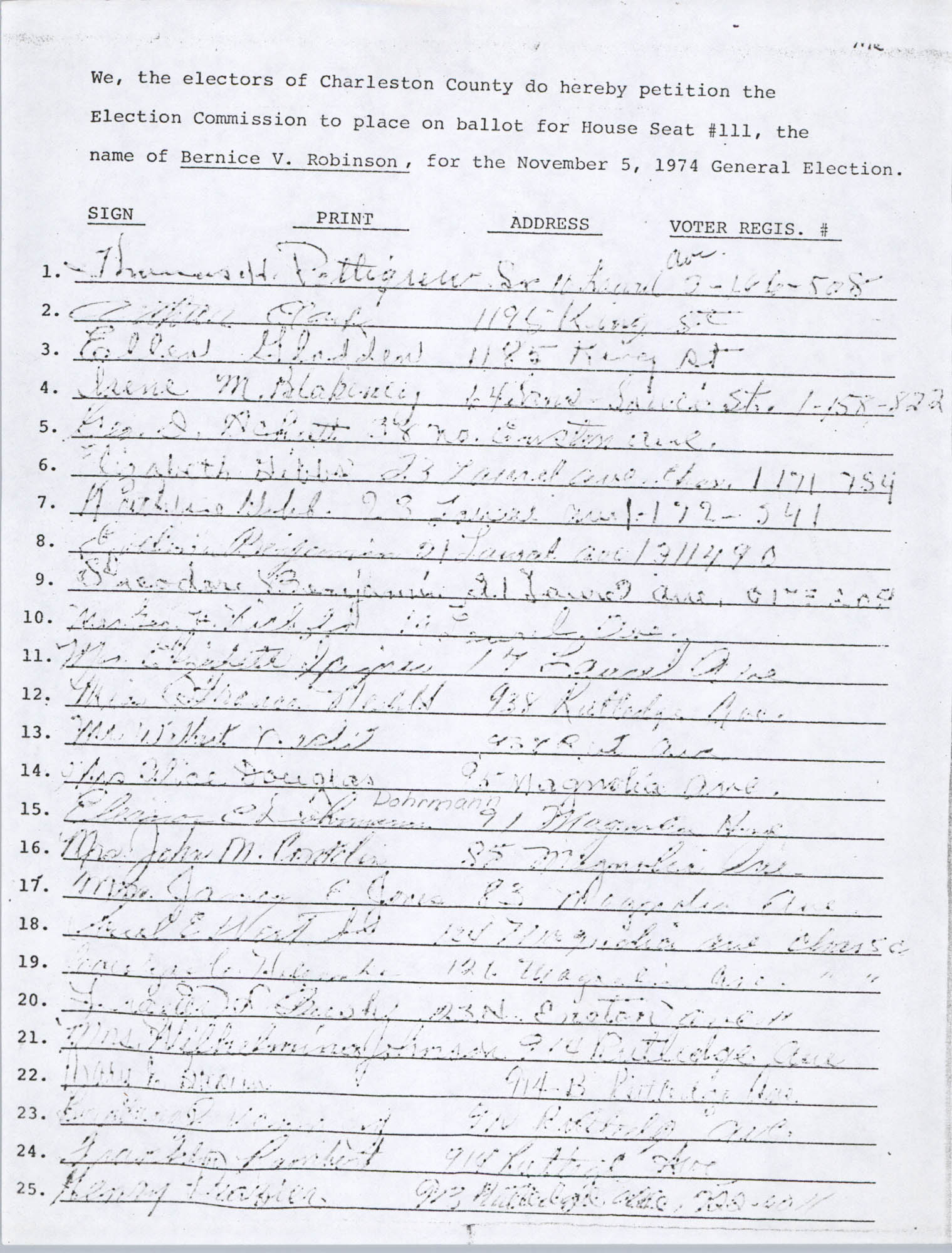 Bernice Robinson Petition for South Carolina House of Representatives, Page 39