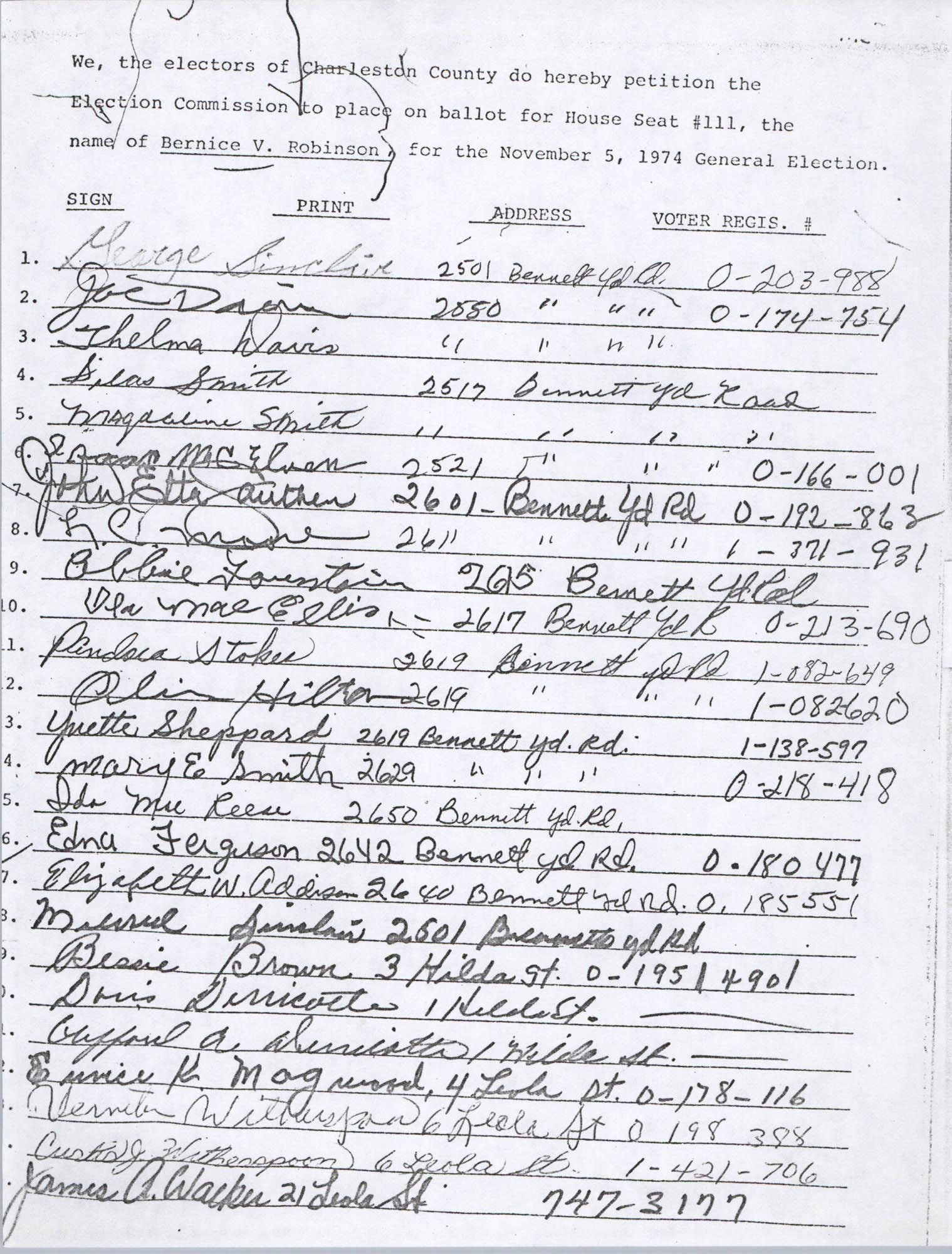 Bernice Robinson Petition for South Carolina House of Representatives, Page 41