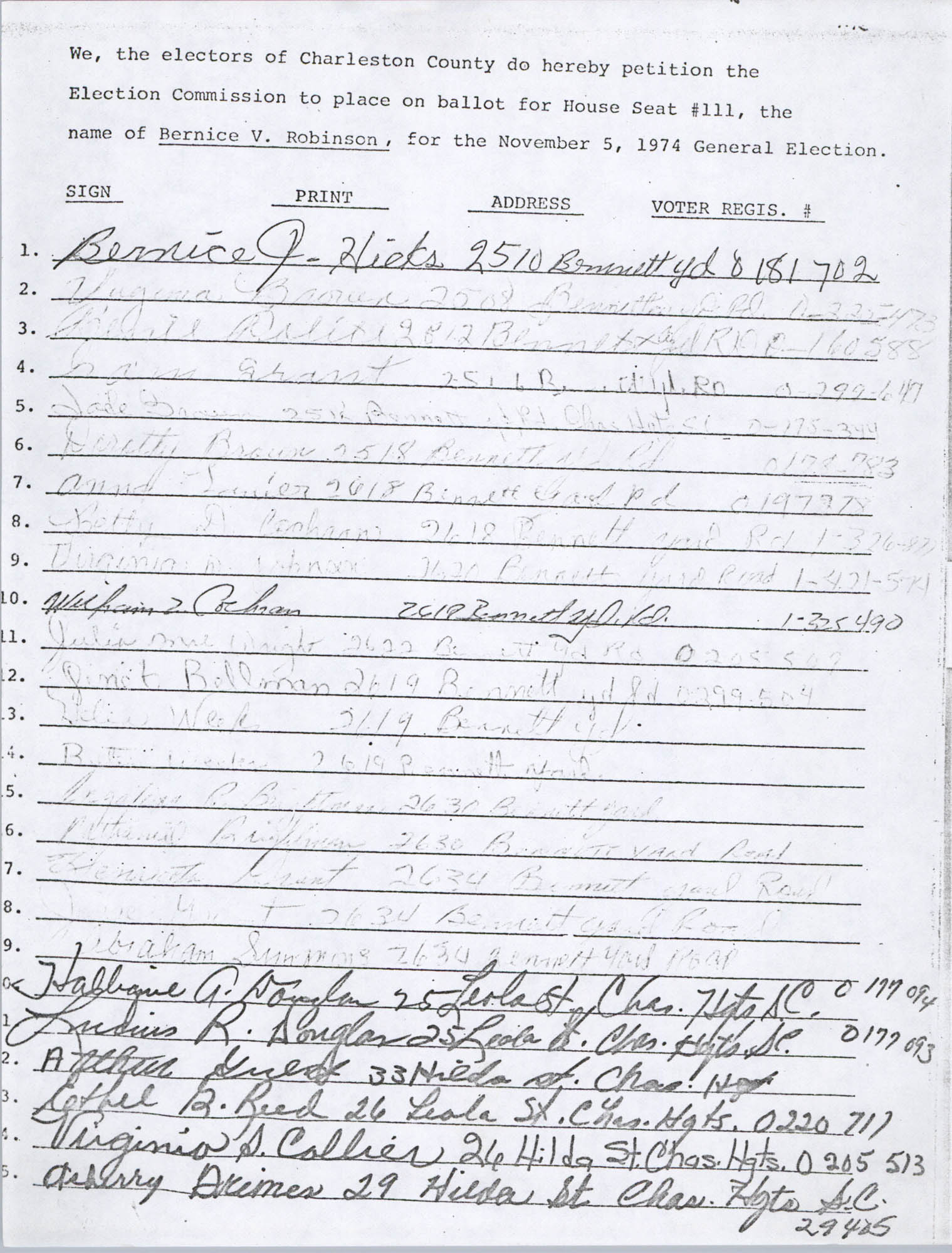 Bernice Robinson Petition for South Carolina House of Representatives, Page 42