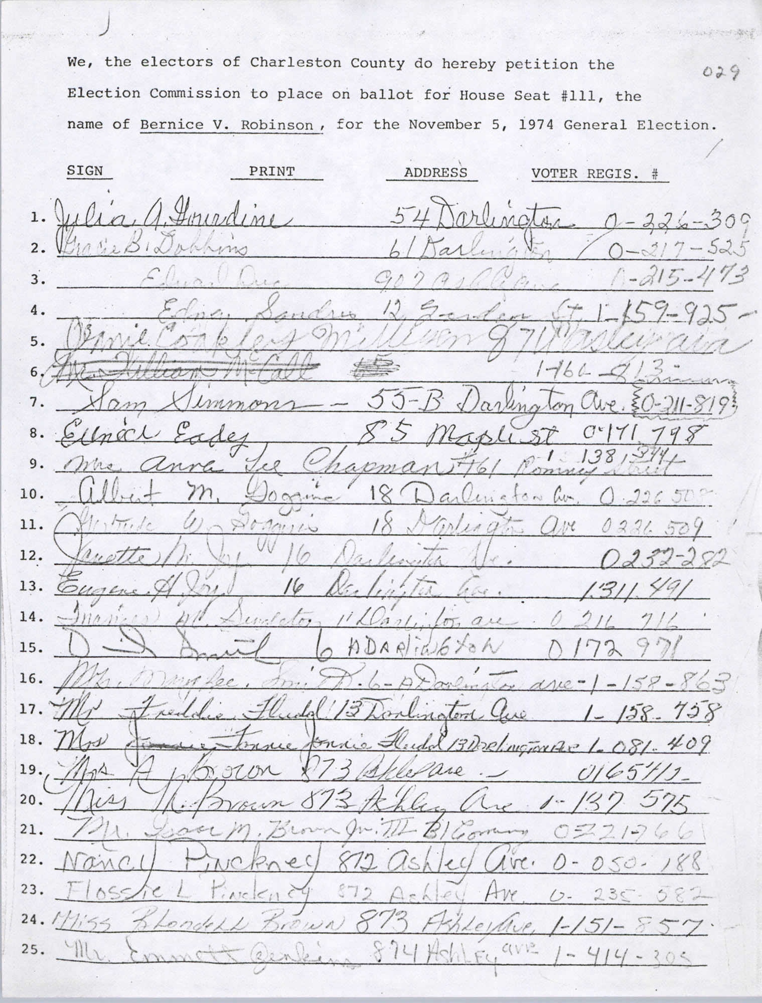 Bernice Robinson Petition for South Carolina House of Representatives, Page 43 (029)