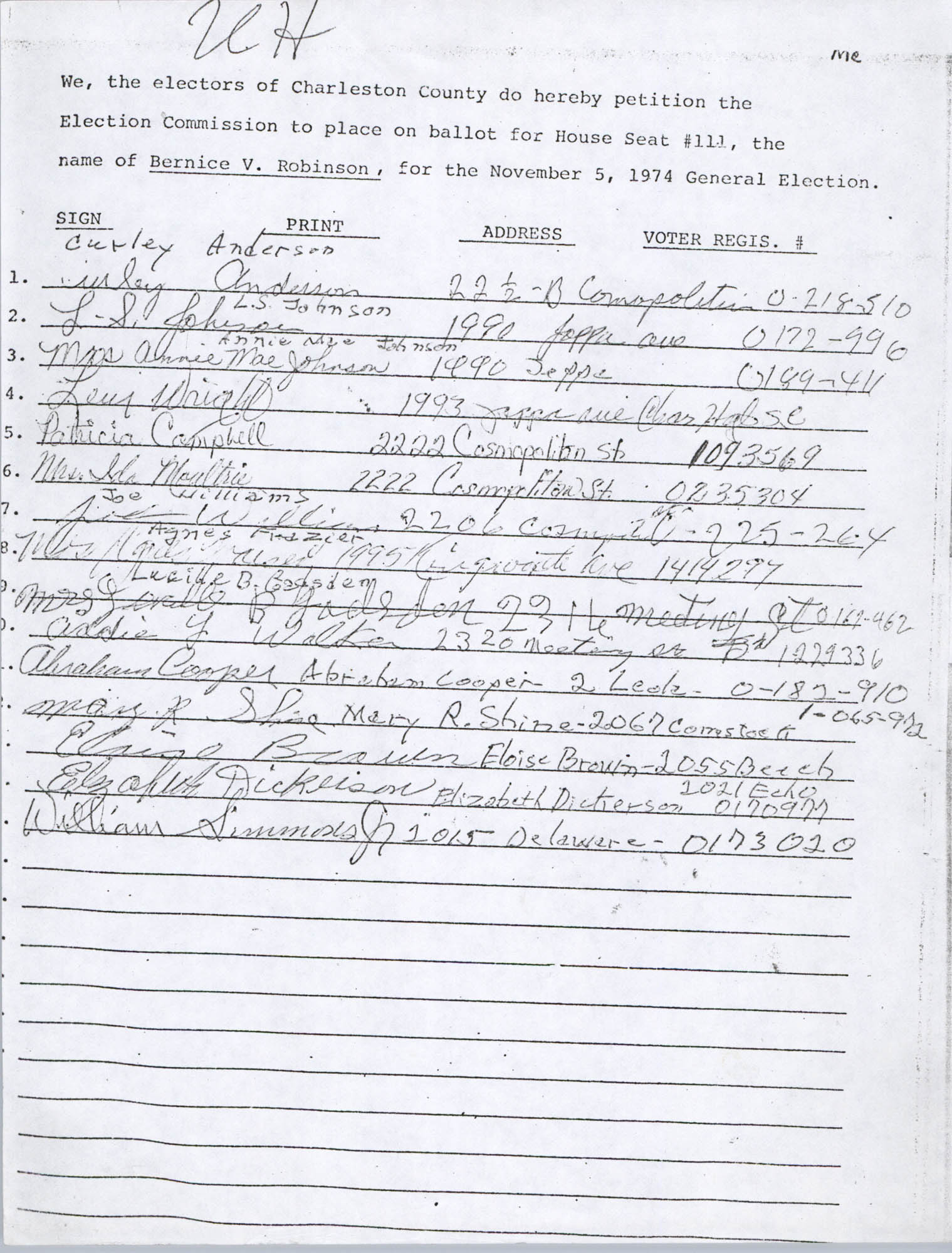 Bernice Robinson Petition for South Carolina House of Representatives, Page 54