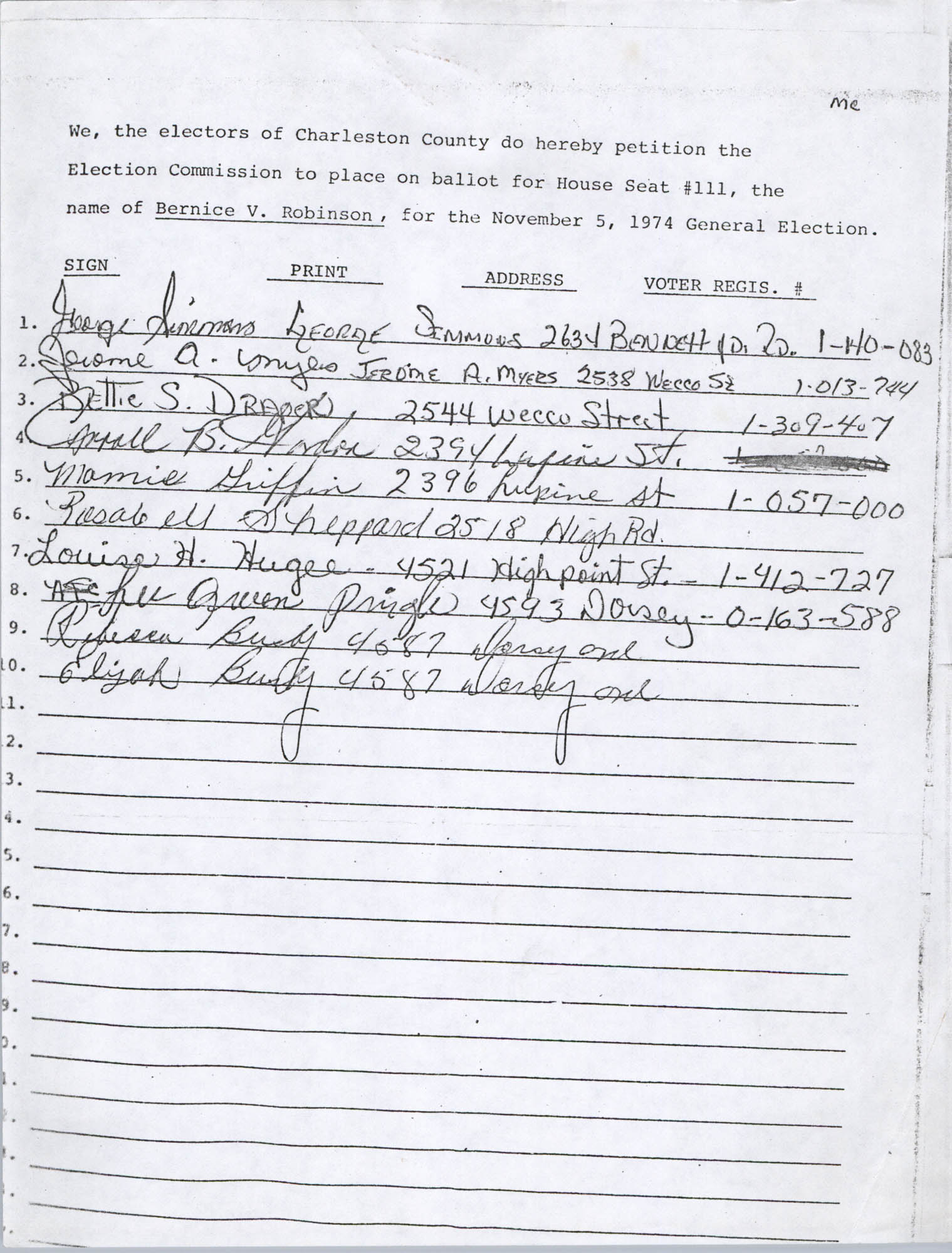 Bernice Robinson Petition for South Carolina House of Representatives, Page 56