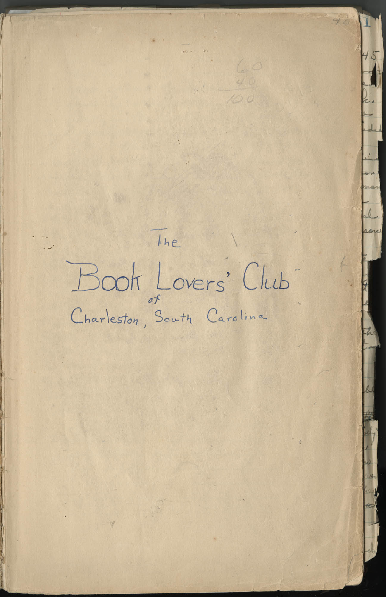 Minutes, Book Lovers' Club, 1944-1958, Title Page