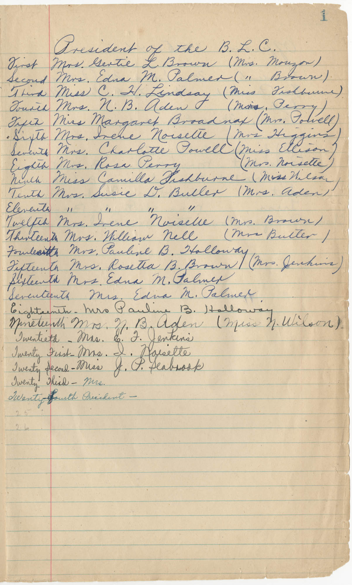 Minutes, Book Lovers' Club, 1944-1958, Page 1