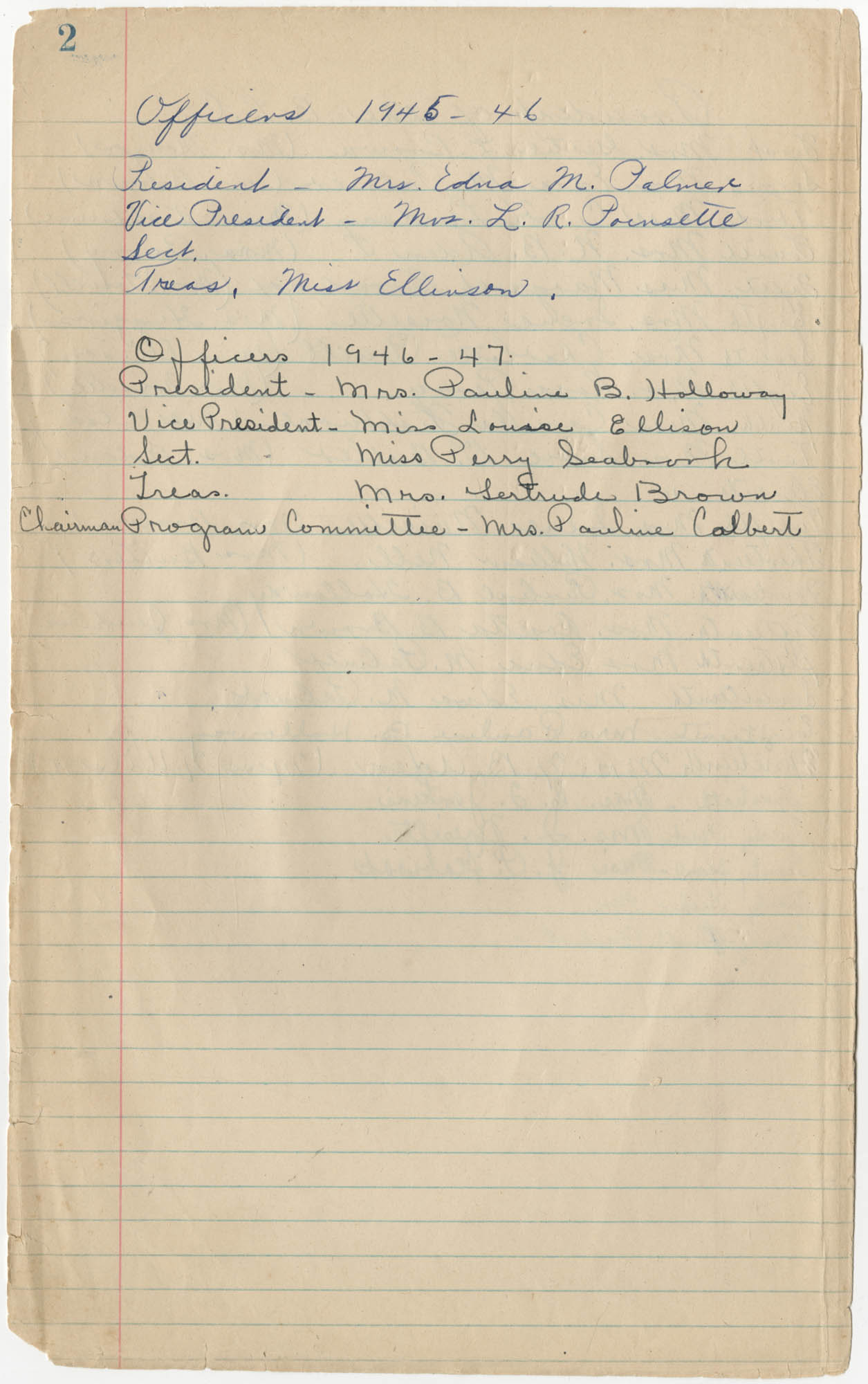 Minutes, Book Lovers' Club, 1944-1958, Page 2
