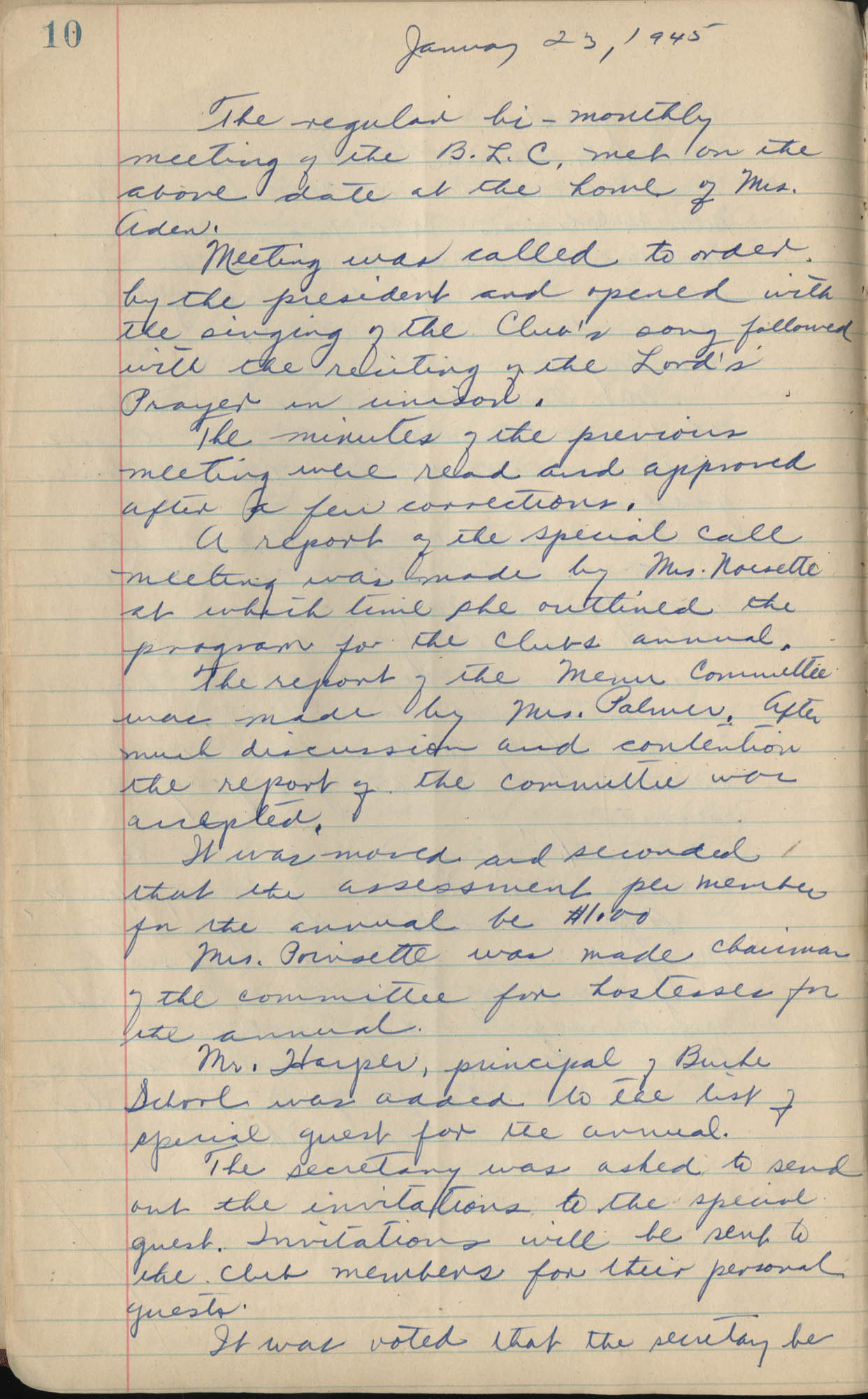 Minutes, Book Lovers' Club, 1944-1958, Page 10