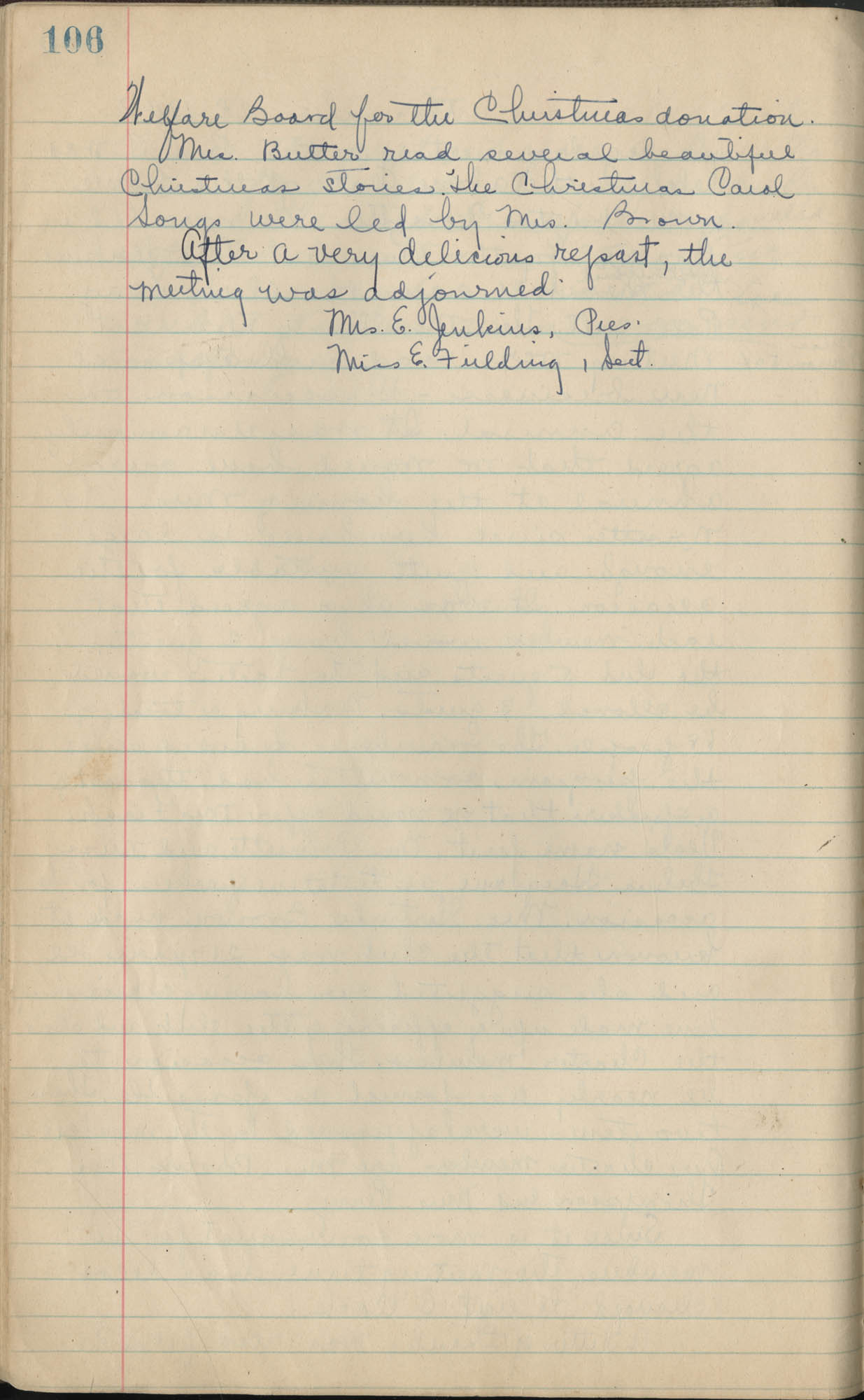 Minutes, Book Lovers' Club, 1944-1958, Page 106