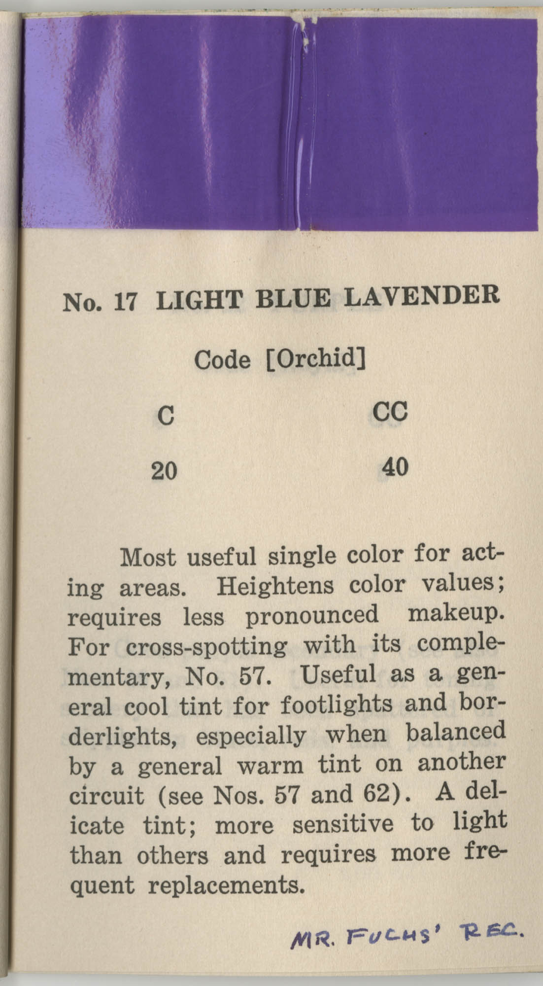 Colored Gelatine for the Theatre School and Community Playhouse, Page 9