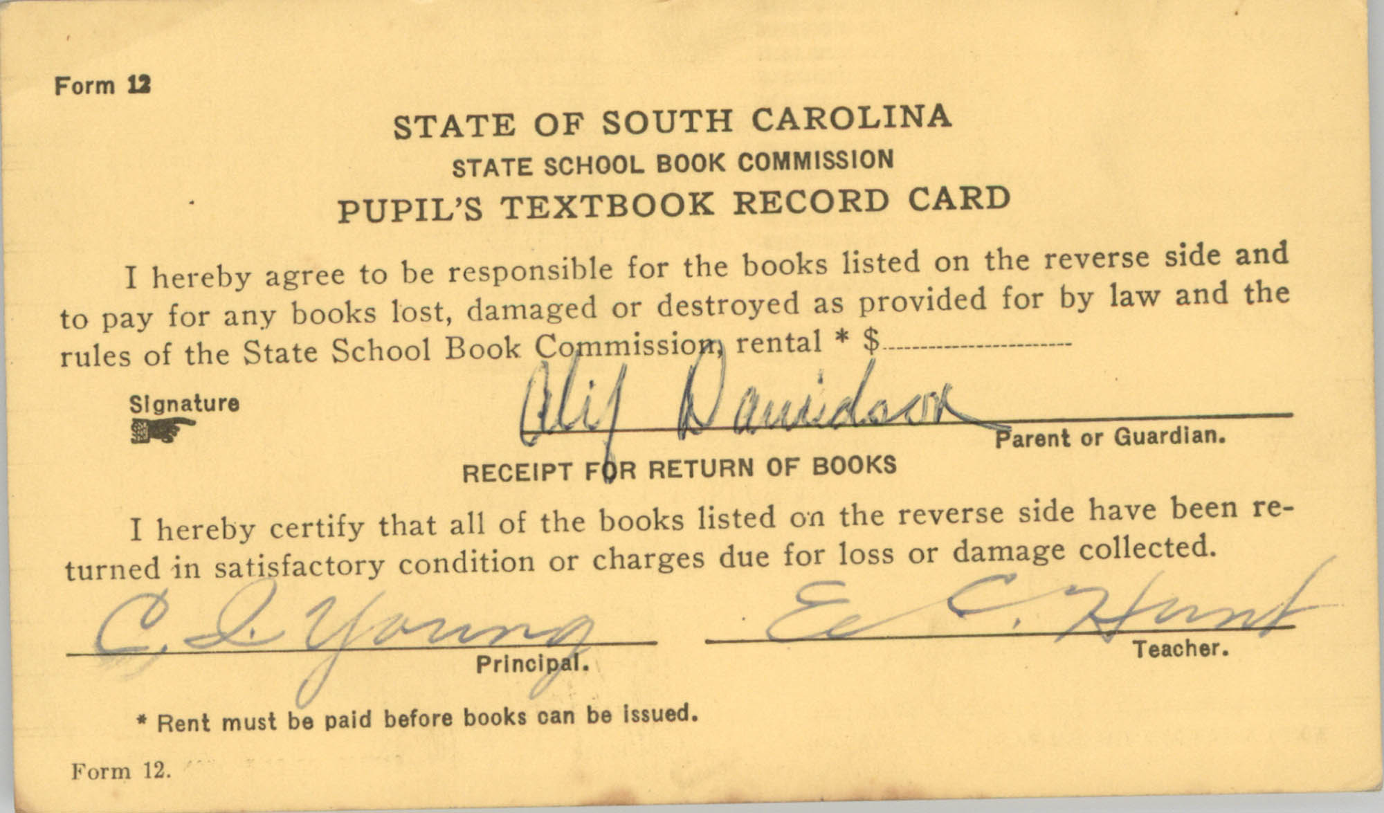 State of South Carolina State School Book Commission Pupil's Textbook Record Cards, Front Card 1