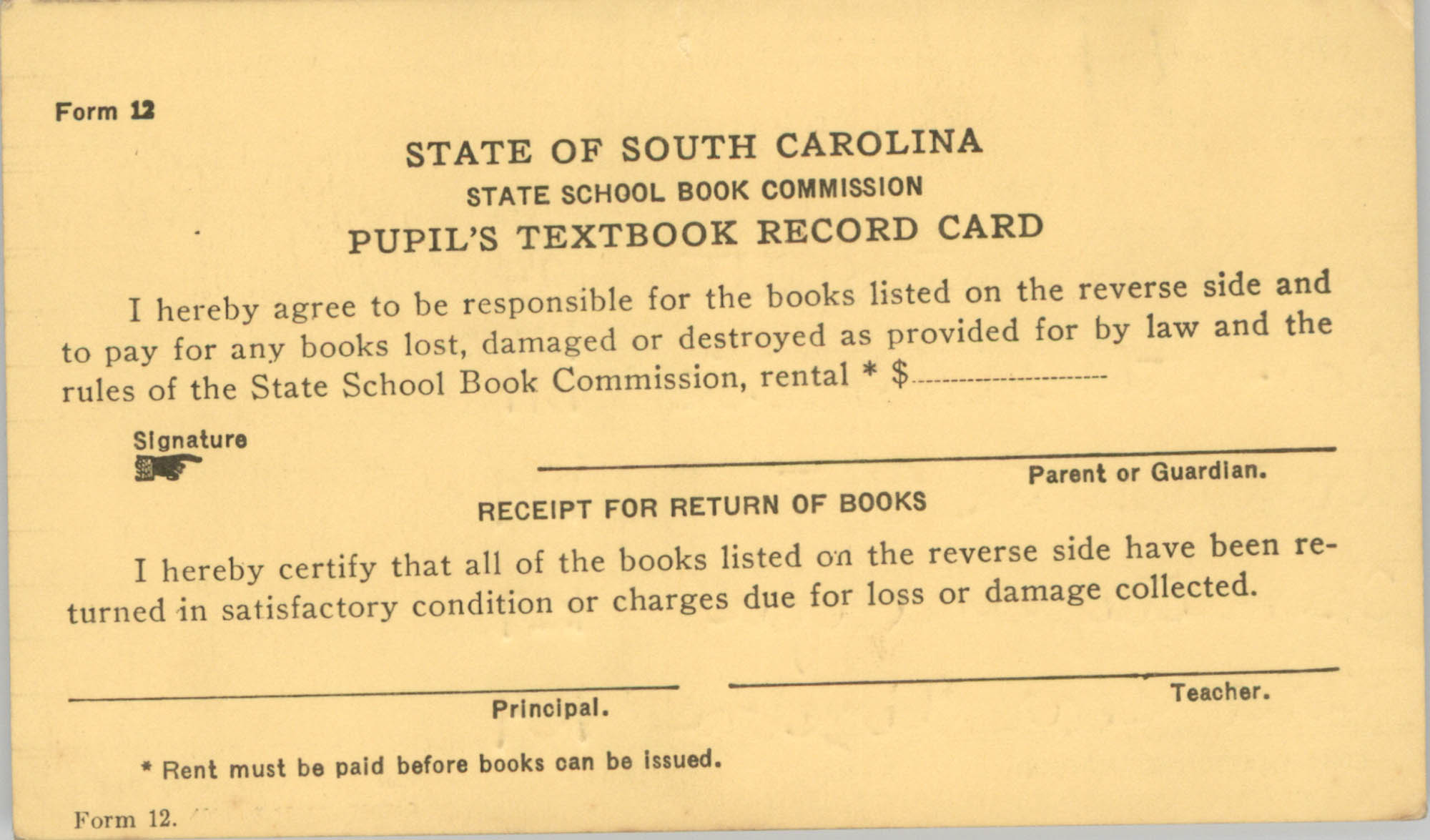 State of South Carolina State School Book Commission Pupil's Textbook Record Cards, Front Card 2
