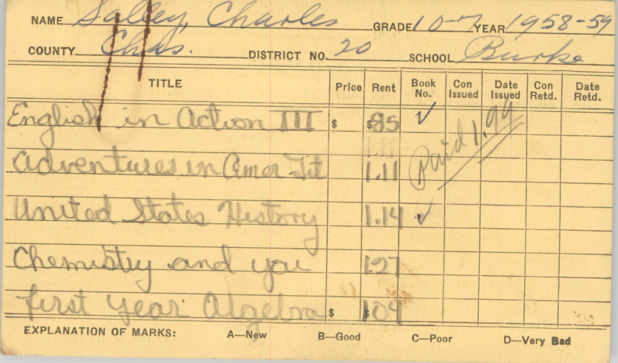 State of South Carolina State School Book Commission Pupil's Textbook Record Cards, Back Card 2