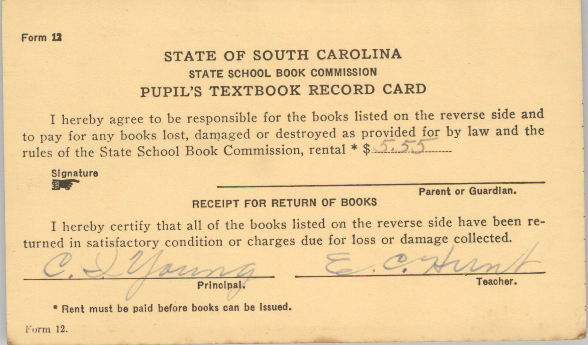 State of South Carolina State School Book Commission Pupil's Textbook Record Cards, Front Card 3