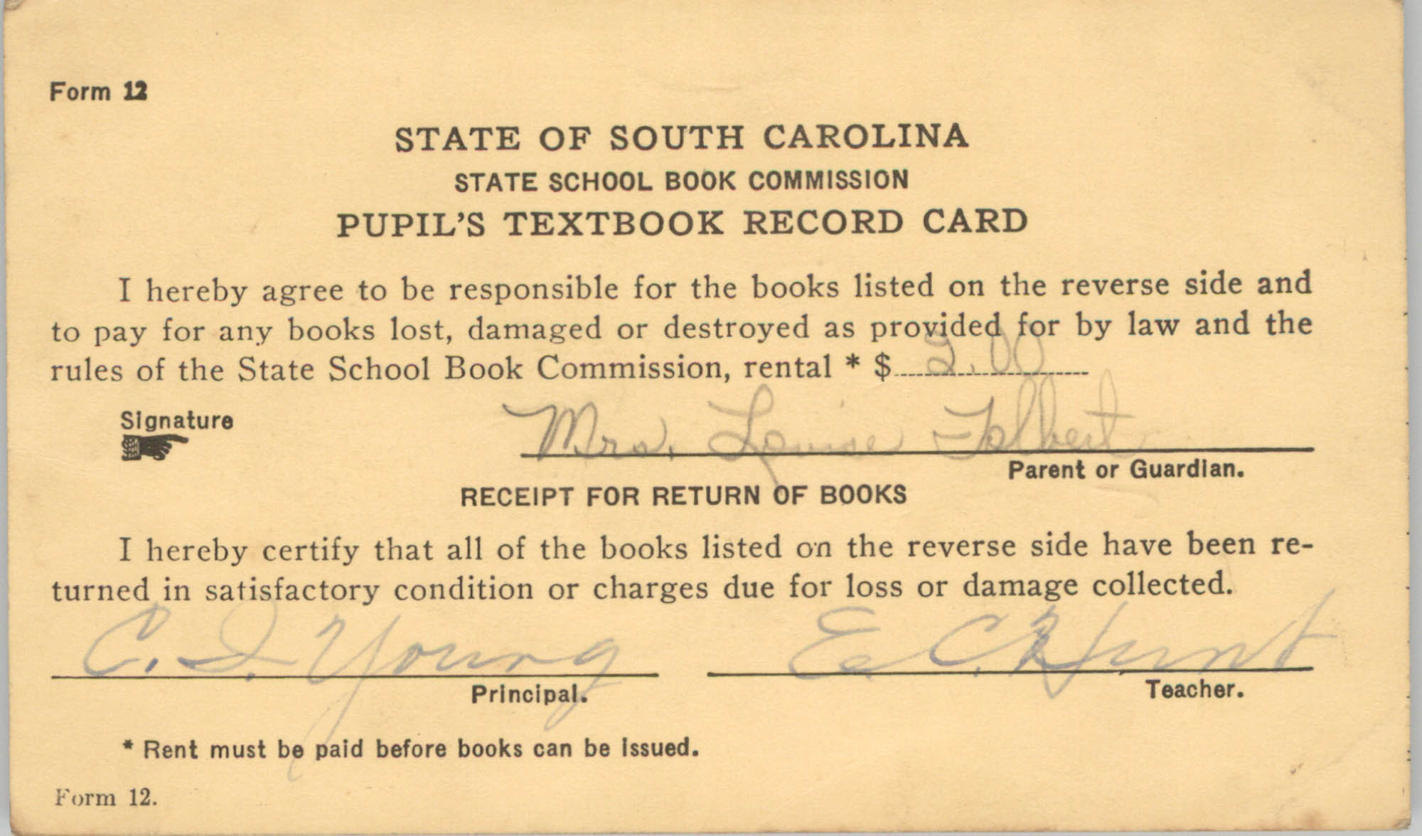 State of South Carolina State School Book Commission Pupil's Textbook Record Cards, Front Card 4