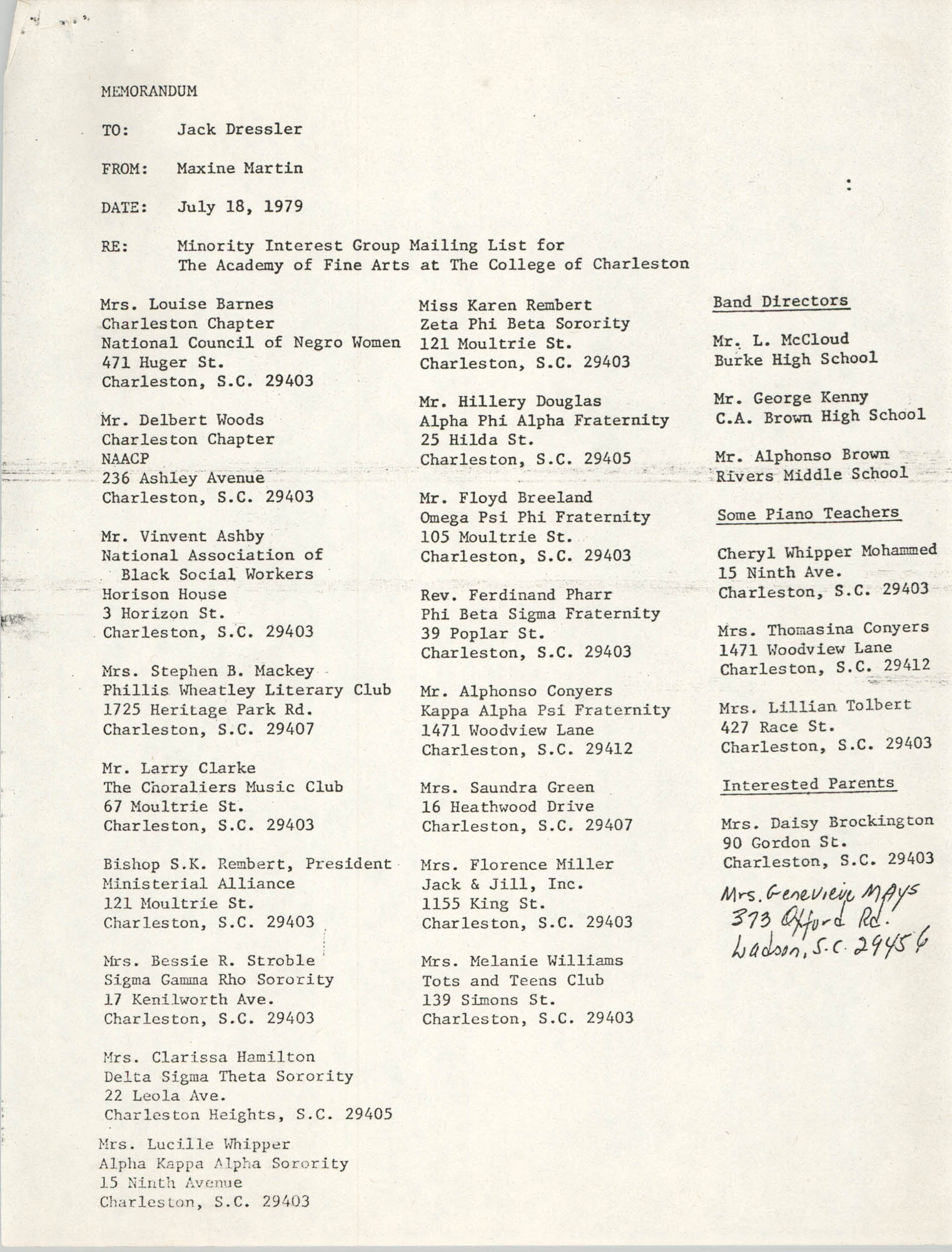 Memorandum, July 18, 1979, Page 1
