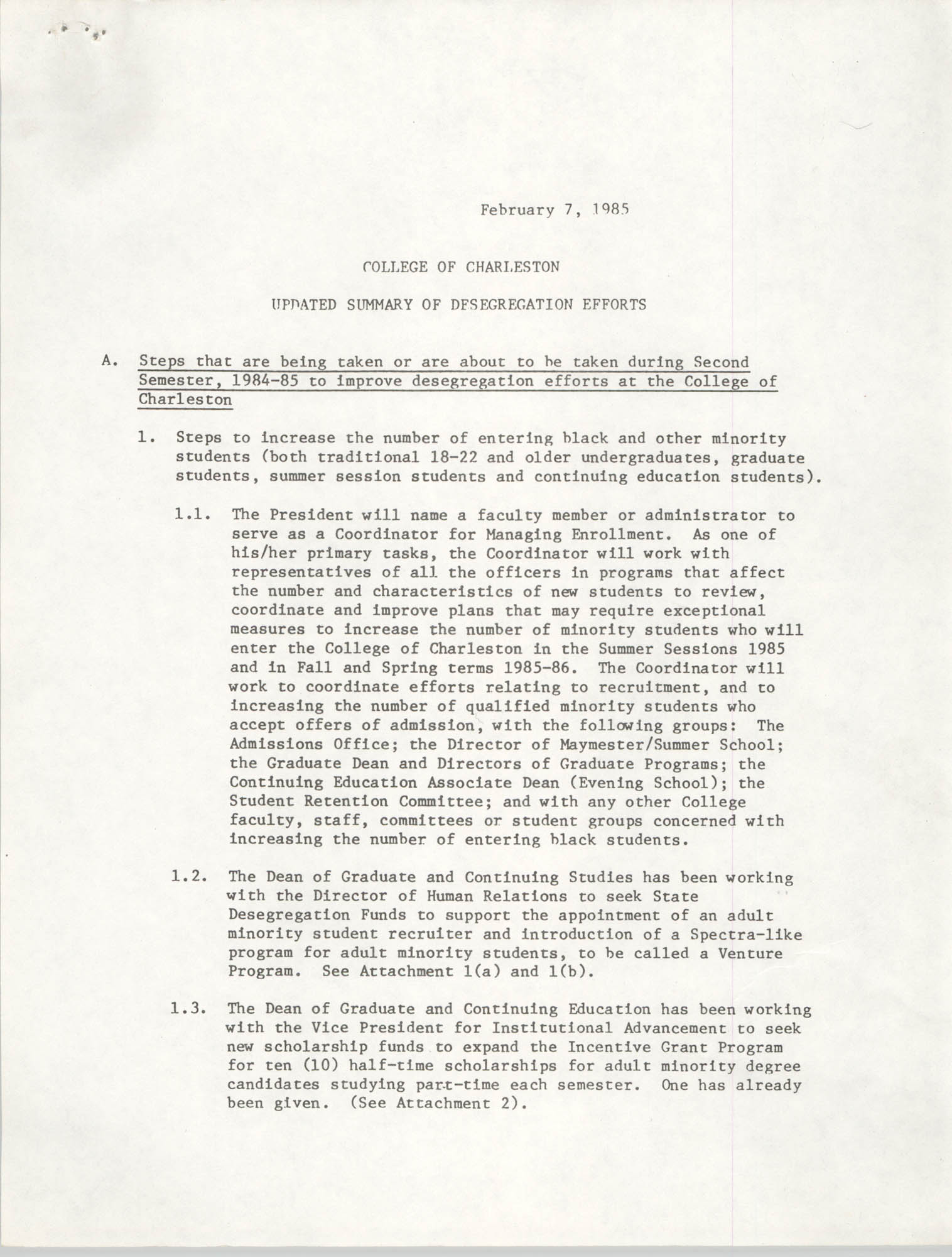 College of Charleston, Updated Summary of Desegregation Efforts, Page 1