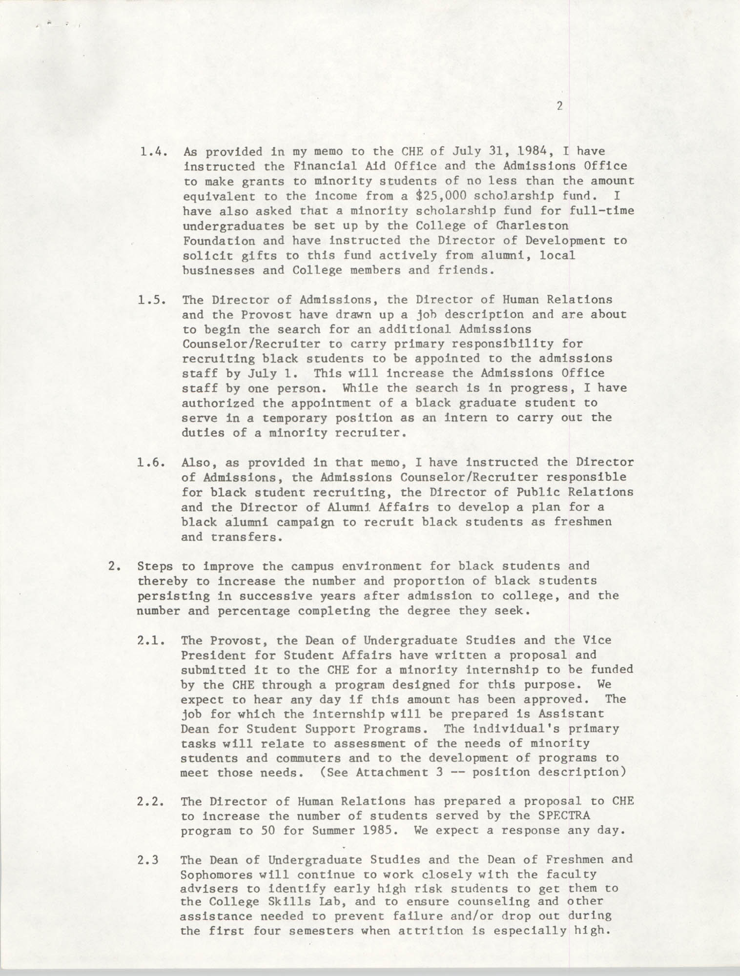 College of Charleston, Updated Summary of Desegregation Efforts, Page 2