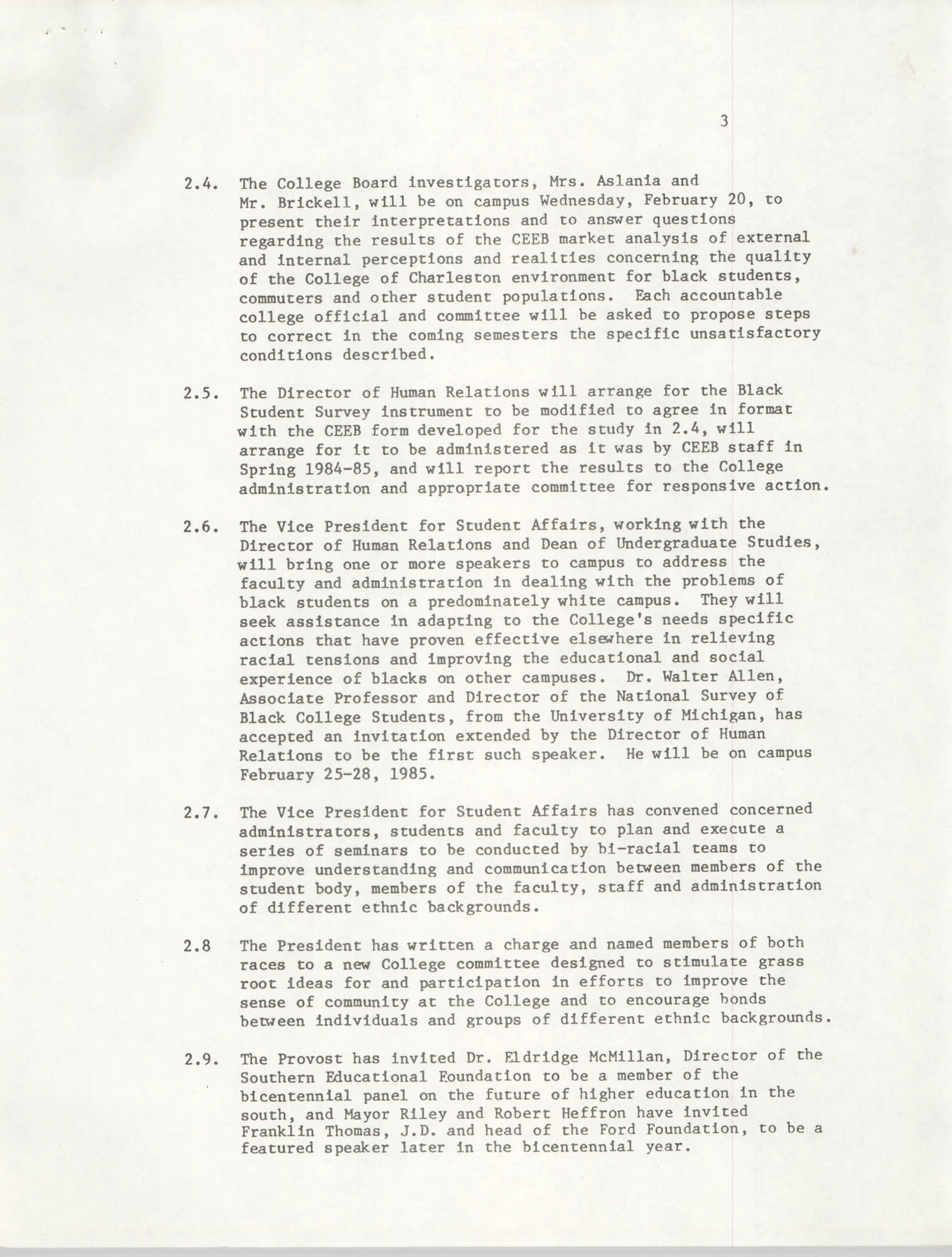 College of Charleston, Updated Summary of Desegregation Efforts, Page 3