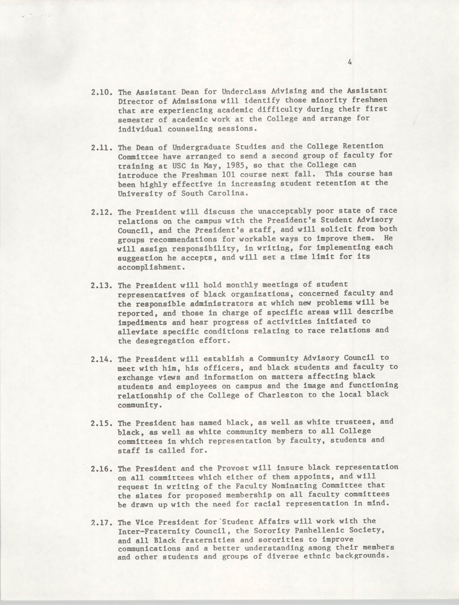 College of Charleston, Updated Summary of Desegregation Efforts, Page 4