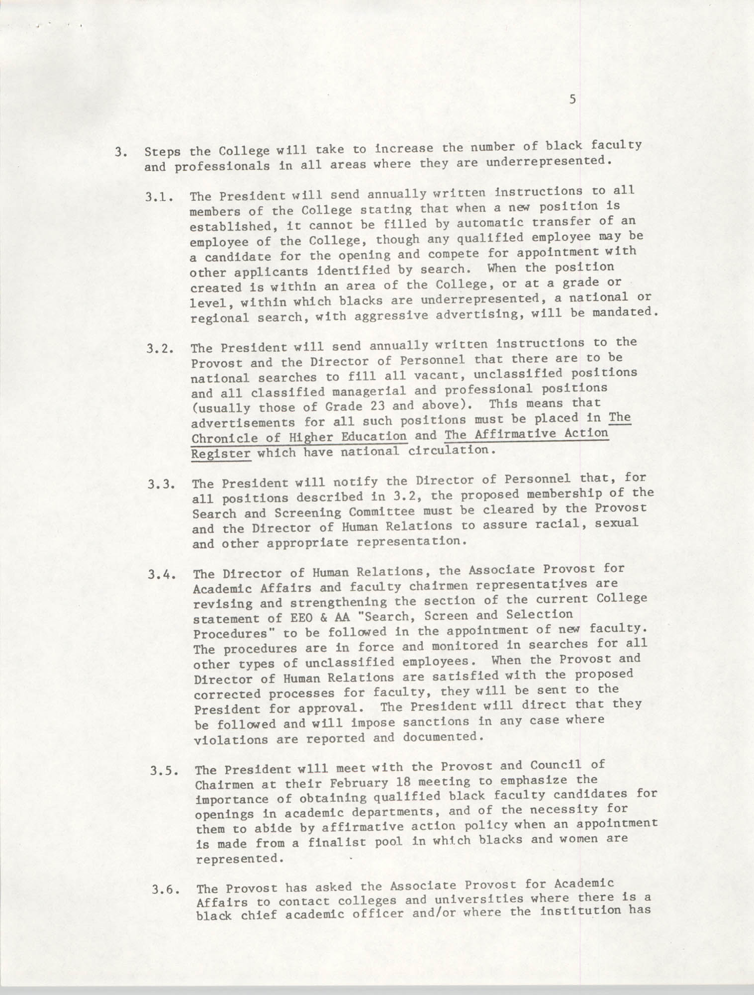College of Charleston, Updated Summary of Desegregation Efforts, Page 5