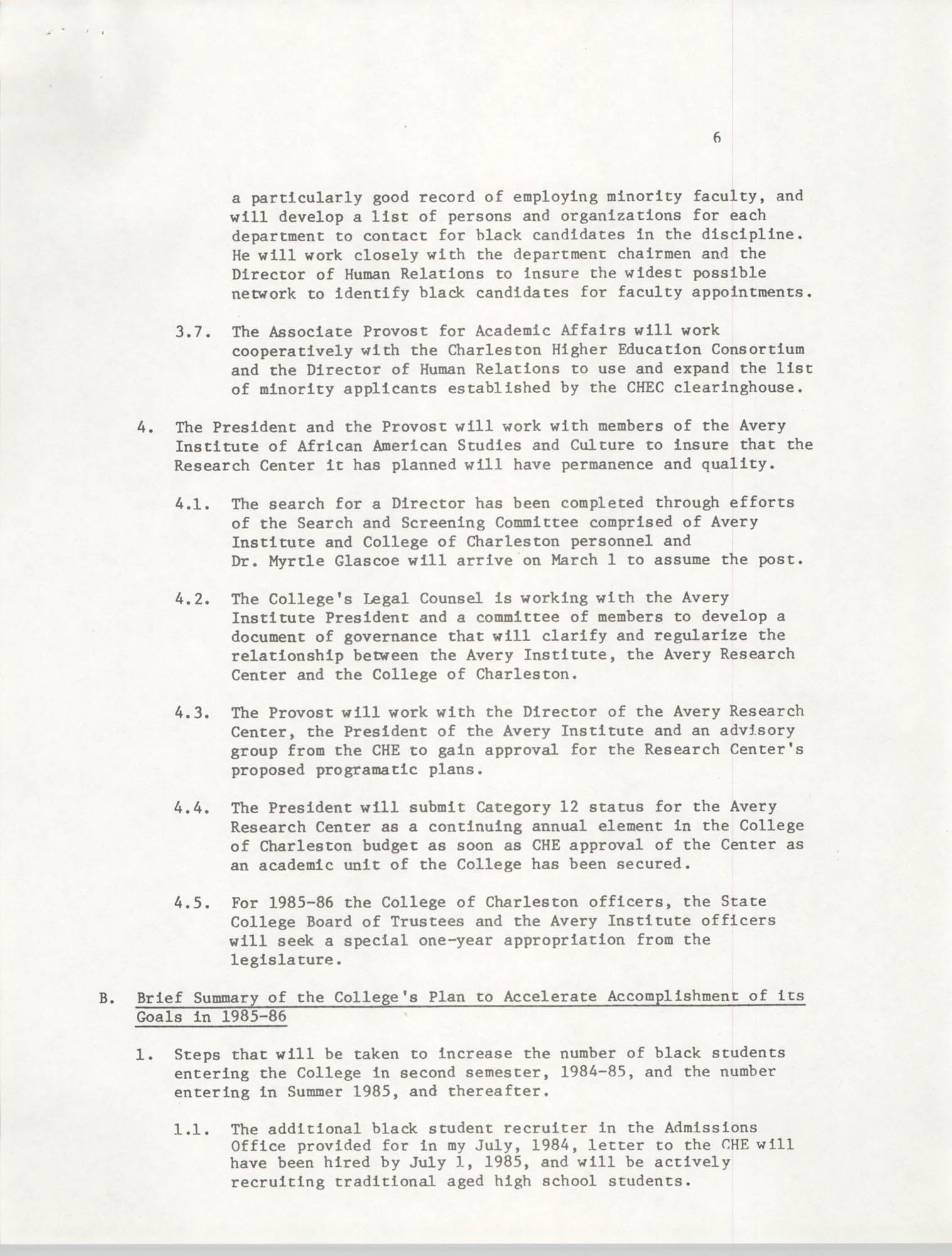 College of Charleston, Updated Summary of Desegregation Efforts, Page 6