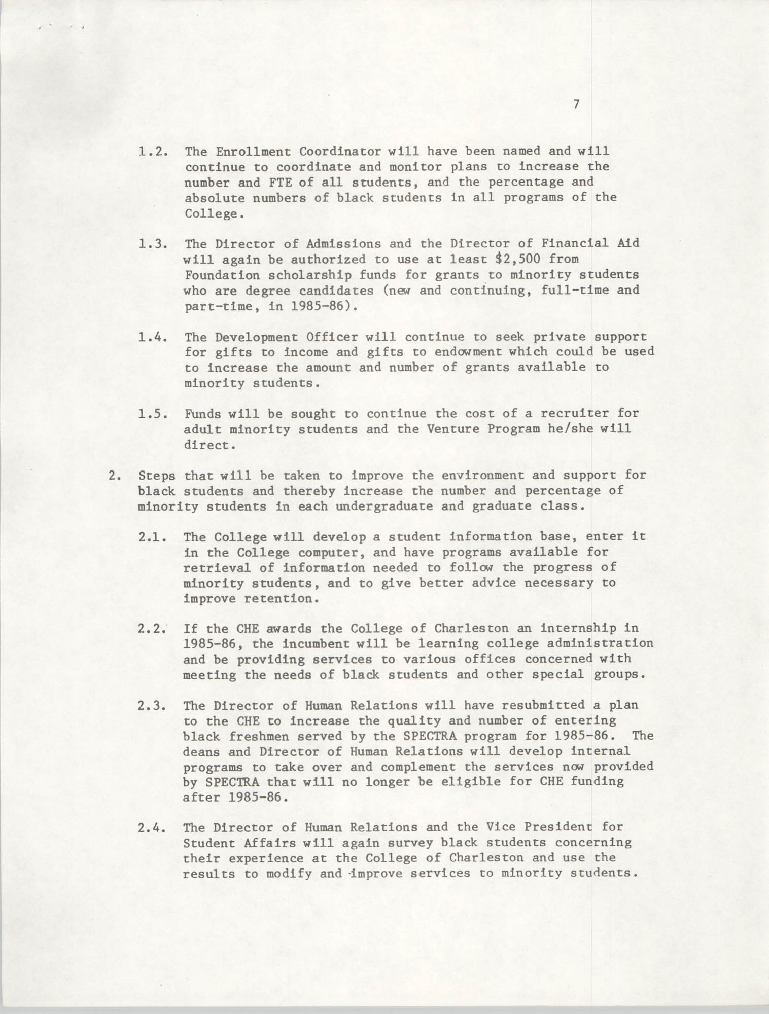 College of Charleston, Updated Summary of Desegregation Efforts, Page 7