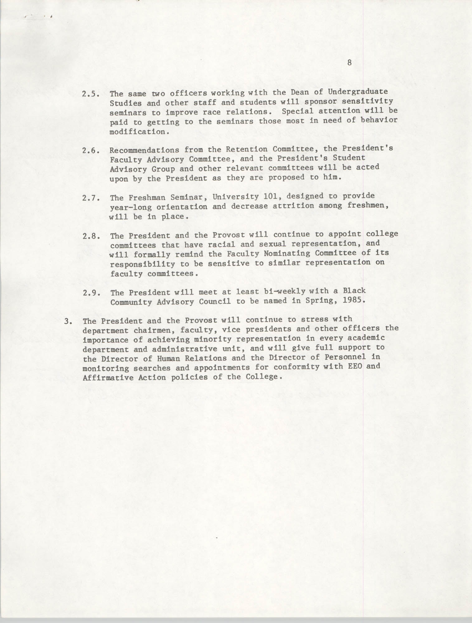 College of Charleston, Updated Summary of Desegregation Efforts, Page 8