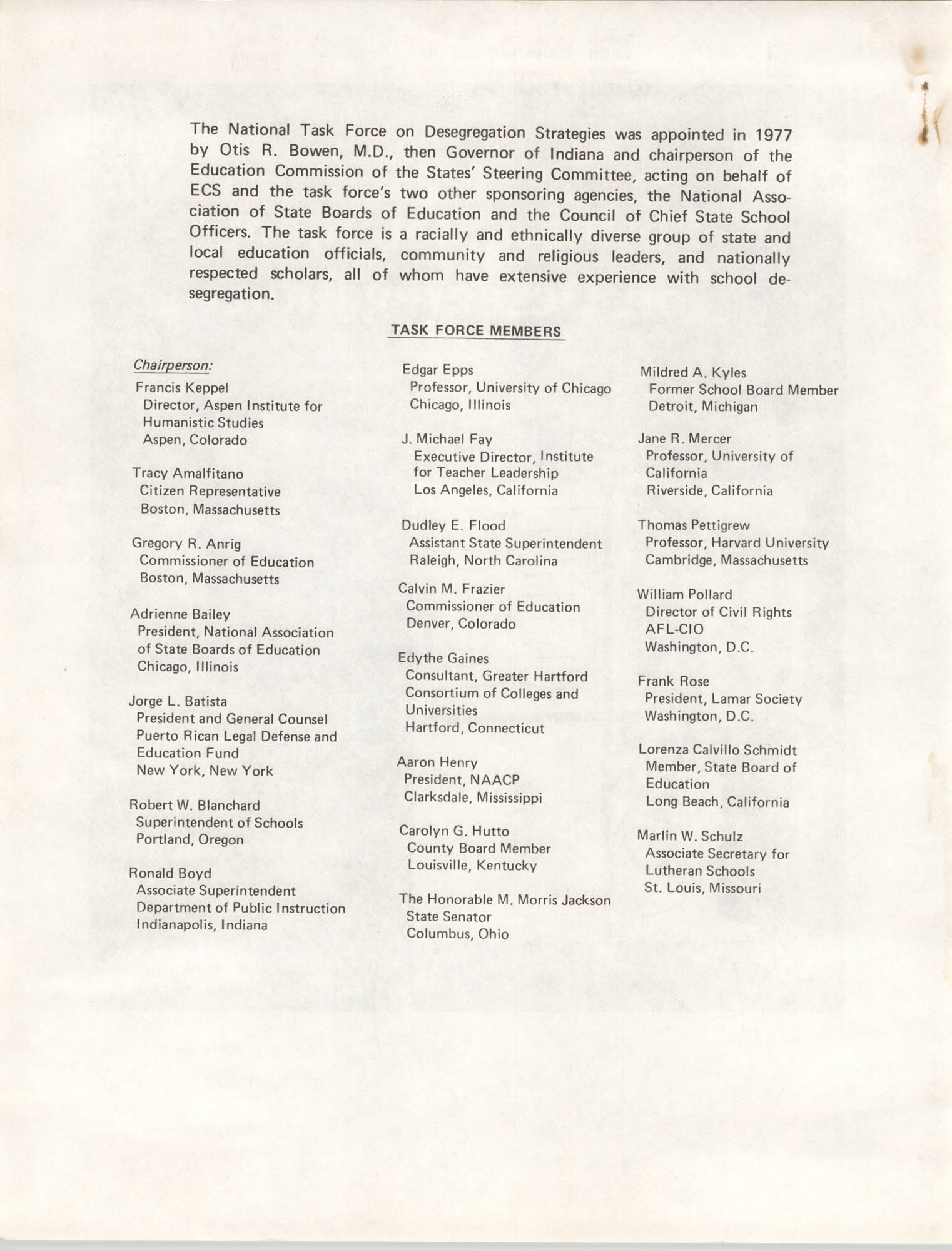 Position Statement on Desegregation, National Task Force on Desegregation Strategies, Title Page