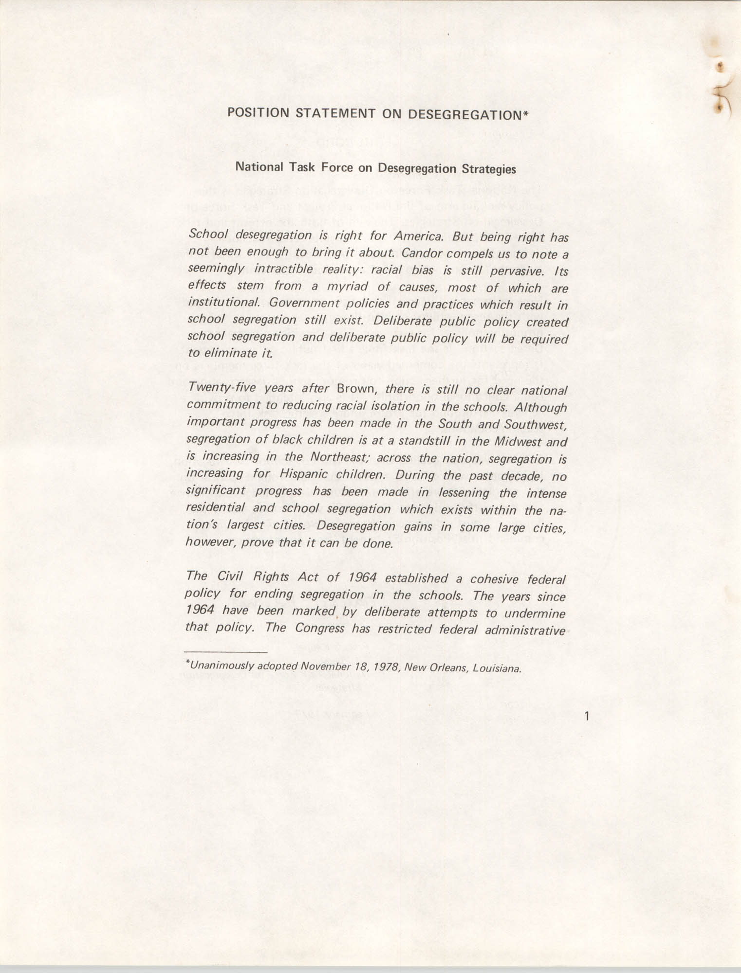 Position Statement on Desegregation, National Task Force on Desegregation Strategies, Page 1