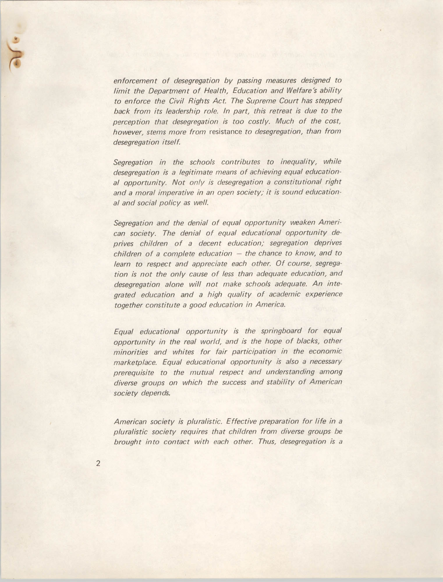 Position Statement on Desegregation, National Task Force on Desegregation Strategies, Page 2