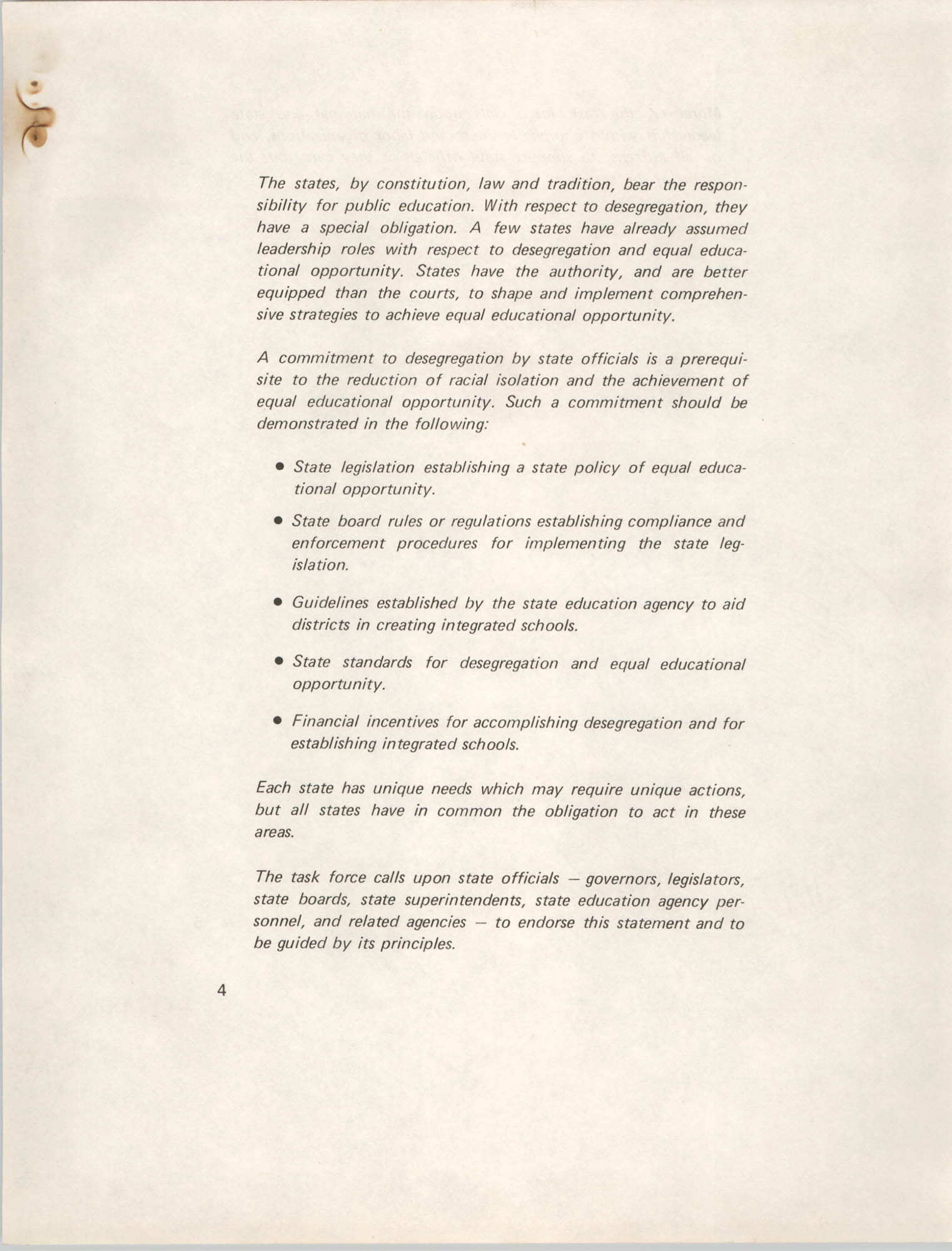 Position Statement on Desegregation, National Task Force on Desegregation Strategies, Page 4
