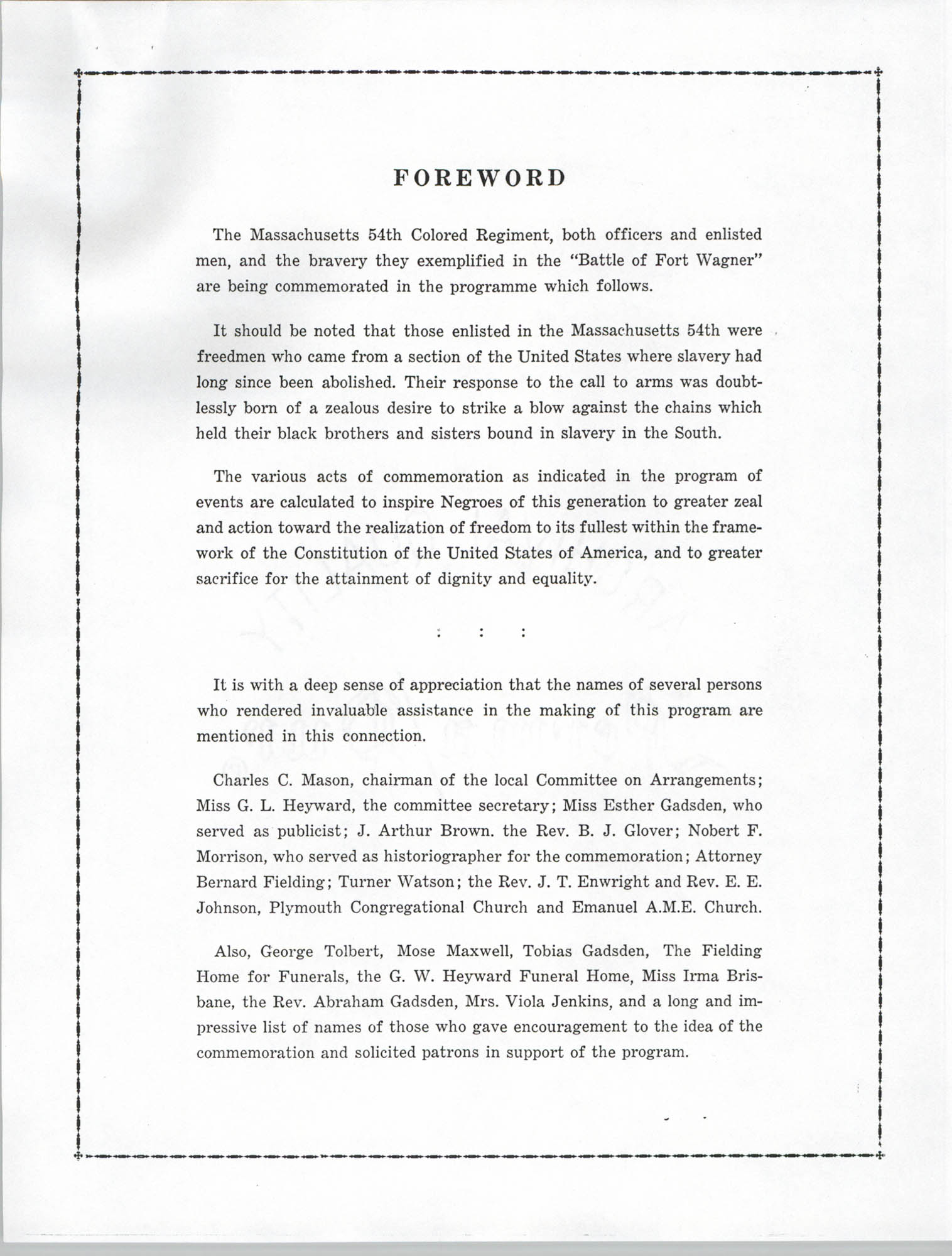 Ninety-Ninth Anniversary of the Battle of Fort Wagner Program, Page 2