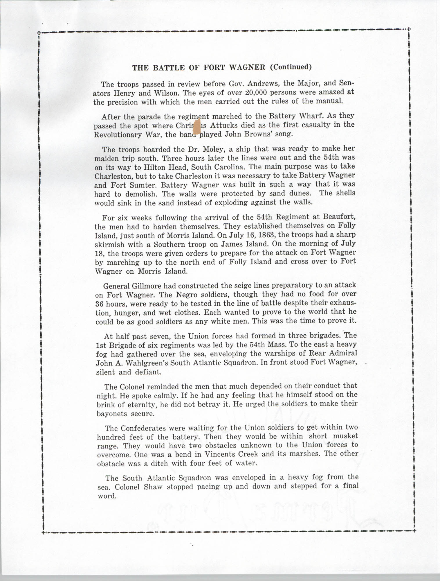 Ninety-Ninth Anniversary of the Battle of Fort Wagner Program, Page 5
