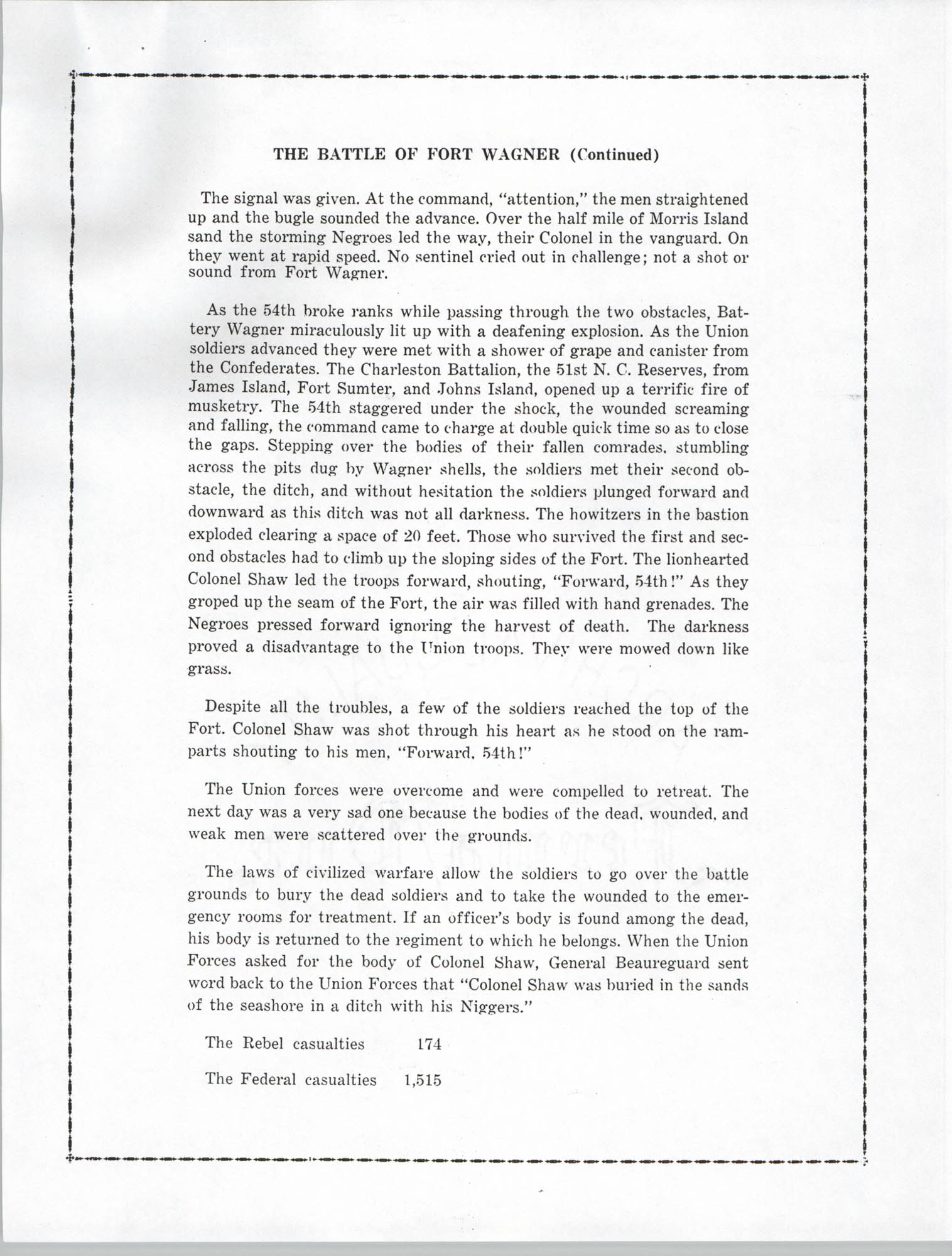 Ninety-Ninth Anniversary of the Battle of Fort Wagner Program, Page 6