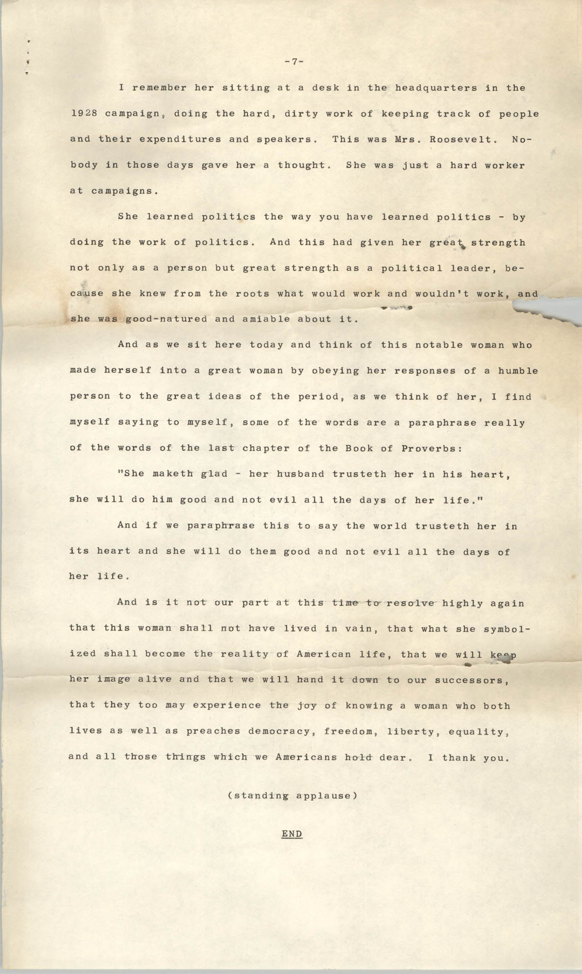 Tribute to the Memory of Mrs. Franklin D. Roosevelt by the Honorable Frances Perkins, Page 7