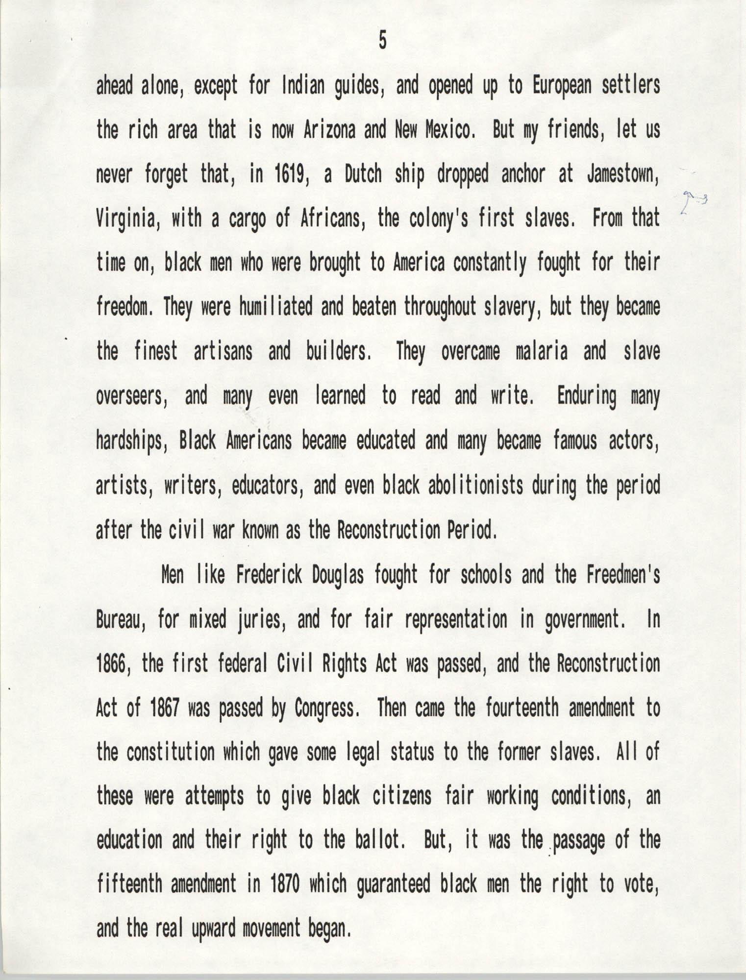 Senator Herbert U. Fielding, Black History Observance, February 28, 1988, Page 5