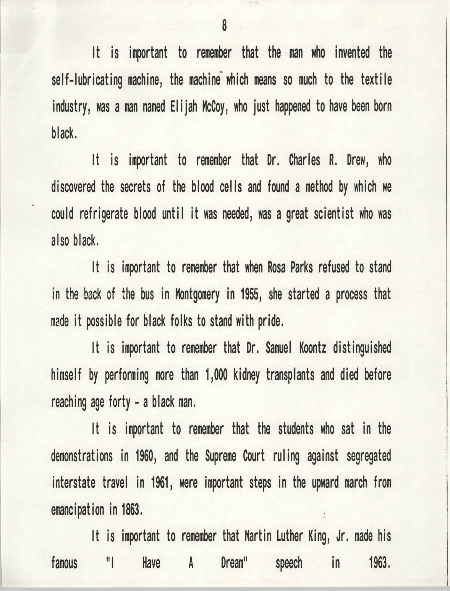 Senator Herbert U. Fielding, Black History Observance, February 28, 1988, Page 8