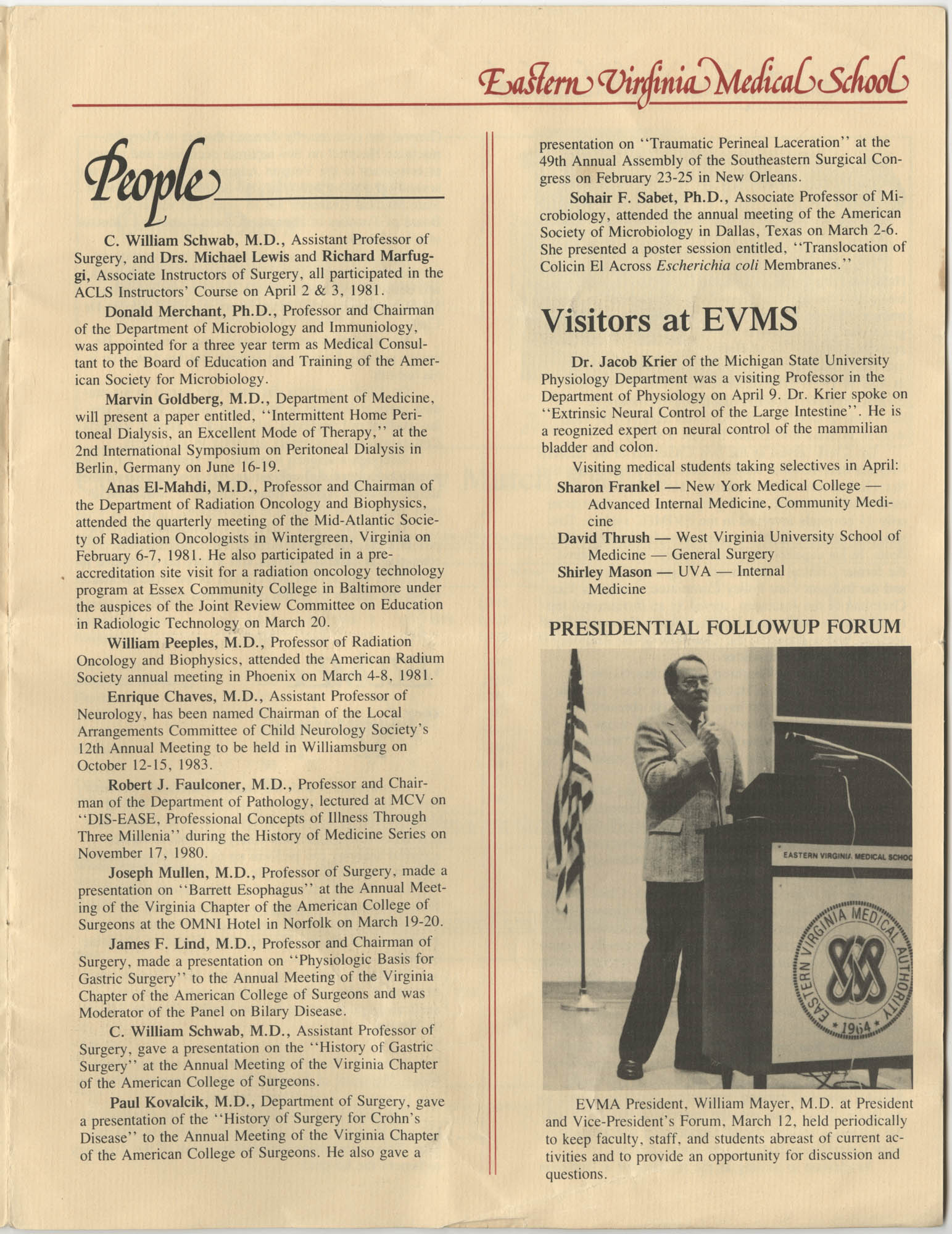 Eastern Virginia Medical School, Dean's Newsletter, Volume 4, Number 5, Page 3