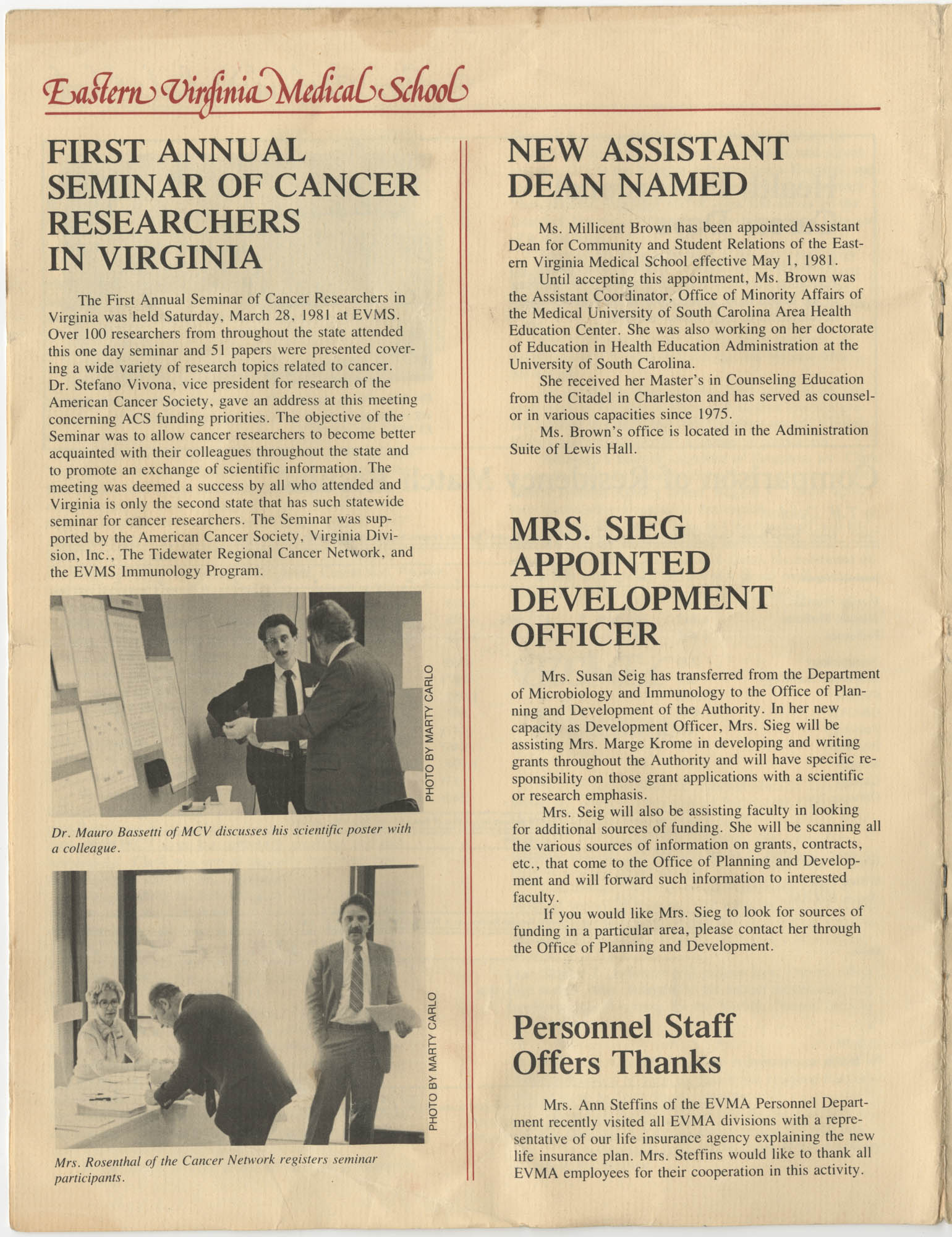 Eastern Virginia Medical School, Dean's Newsletter, Volume 4, Number 5, Page 6