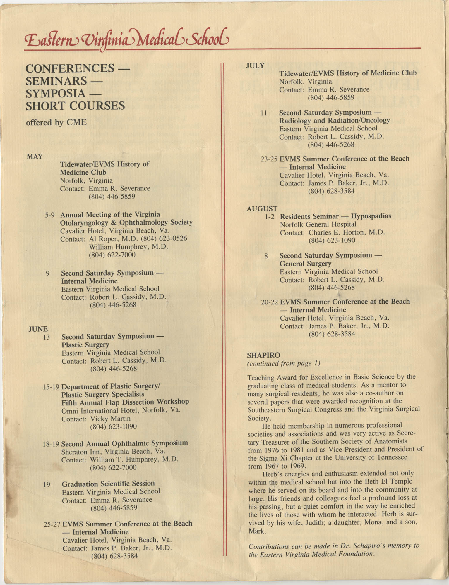 Eastern Virginia Medical School, Dean's Newsletter, Volume 4, Number 5, Page 8
