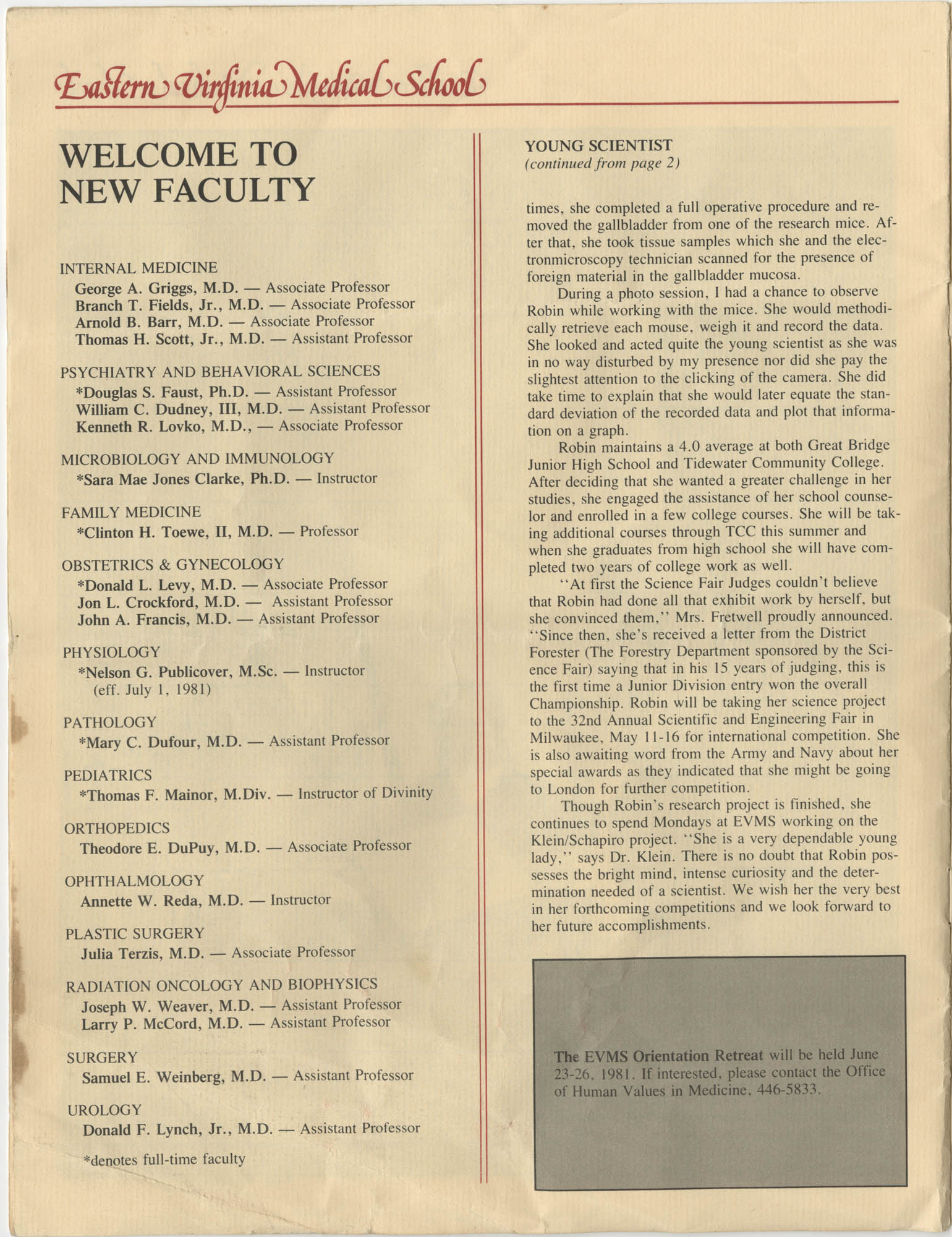 Eastern Virginia Medical School, Dean's Newsletter, Volume 4, Number 5, Page 10
