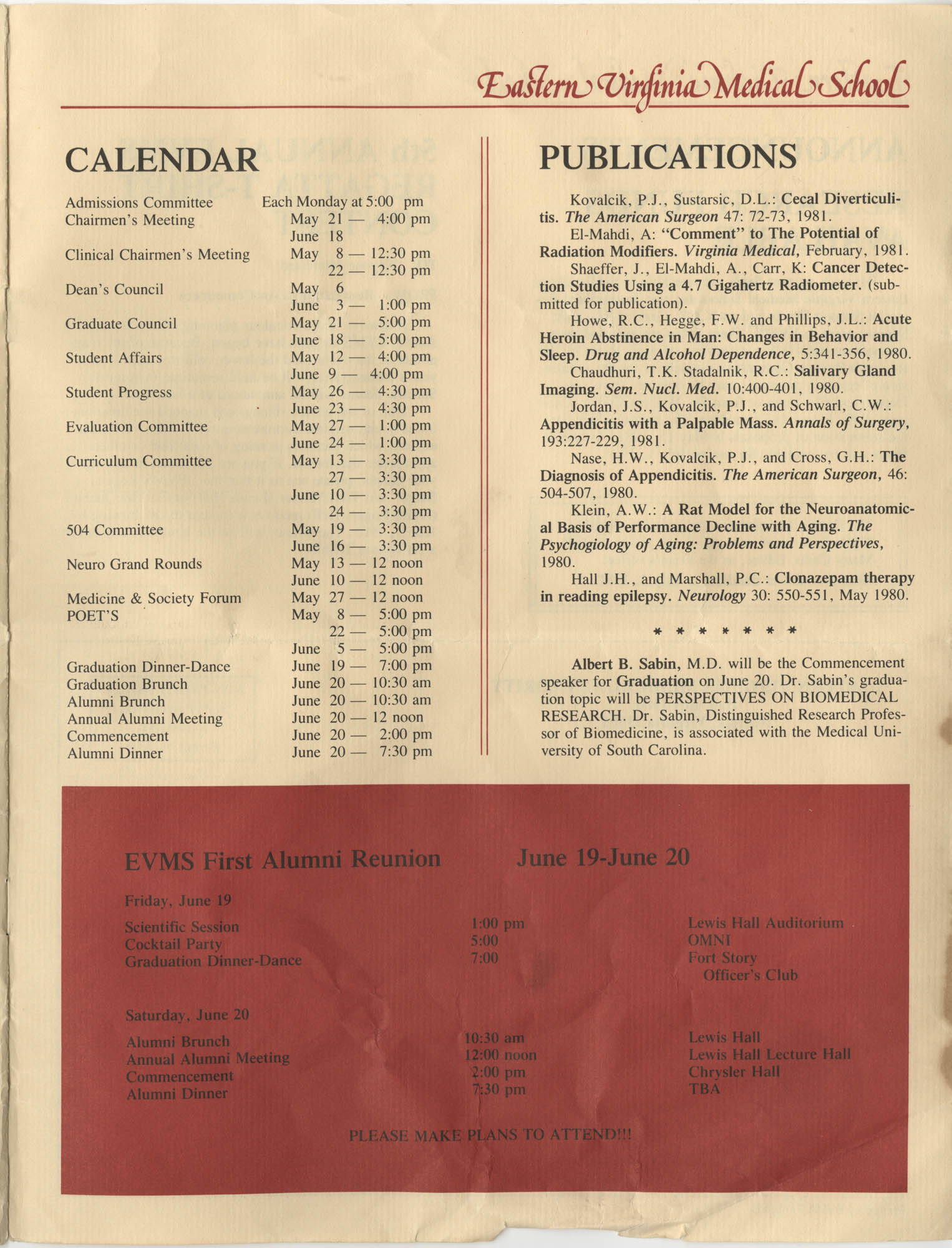 Eastern Virginia Medical School, Dean's Newsletter, Volume 4, Number 5, Page 11