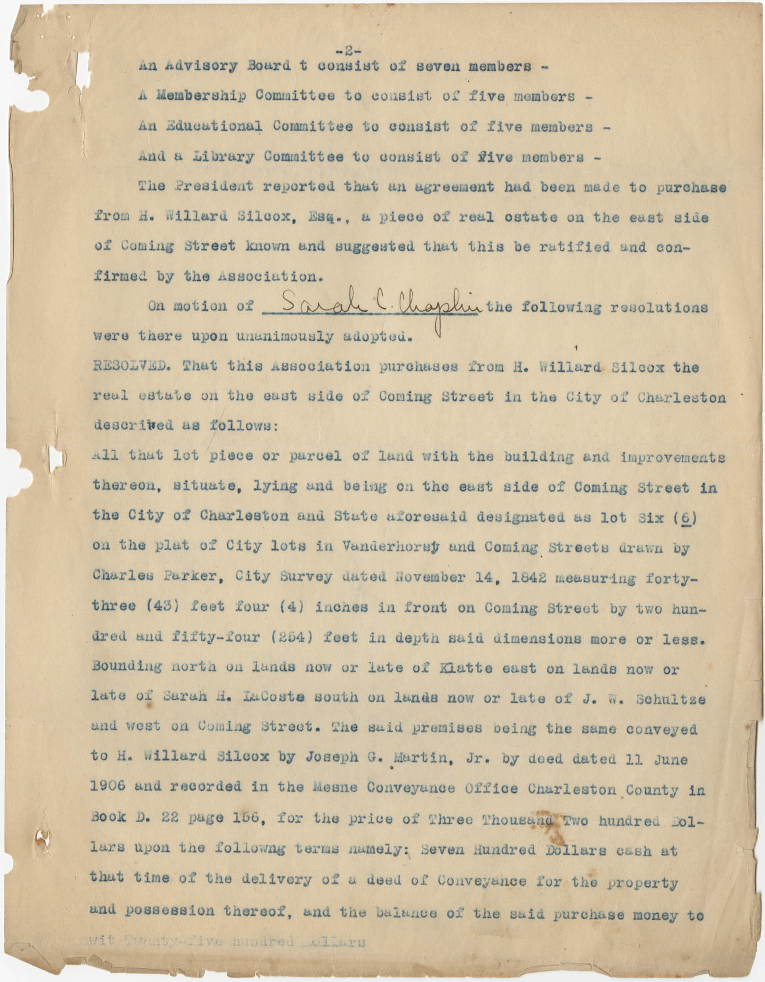 Minutes to the Coming Street Y.W.C.A. Meeting, January 23, 1911, Page 2